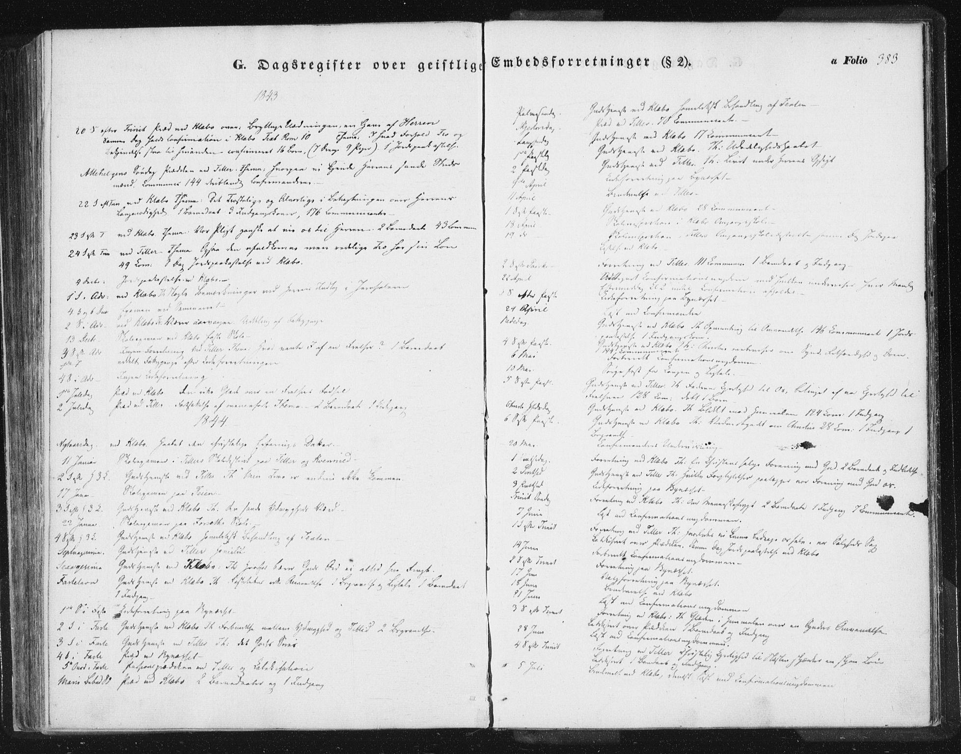 SAT, Ministerialprotokoller, klokkerbøker og fødselsregistre - Sør-Trøndelag, 618/L0441: Ministerialbok nr. 618A05, 1843-1862, s. 383
