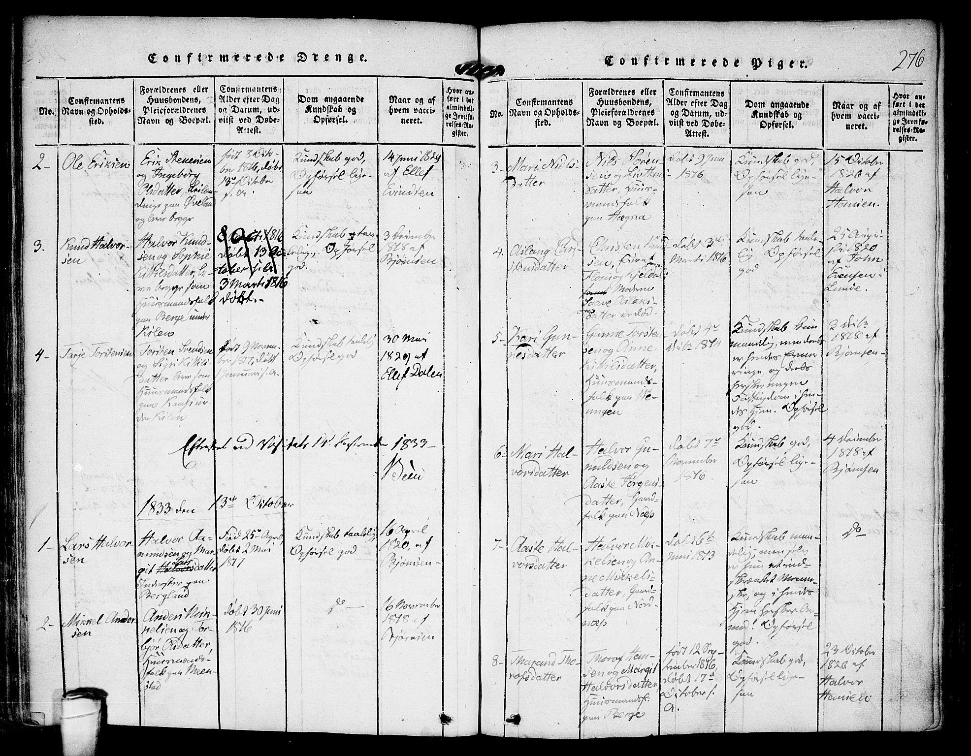 SAKO, Kviteseid kirkebøker, F/Fa/L0005: Ministerialbok nr. I 5, 1815-1836, s. 276