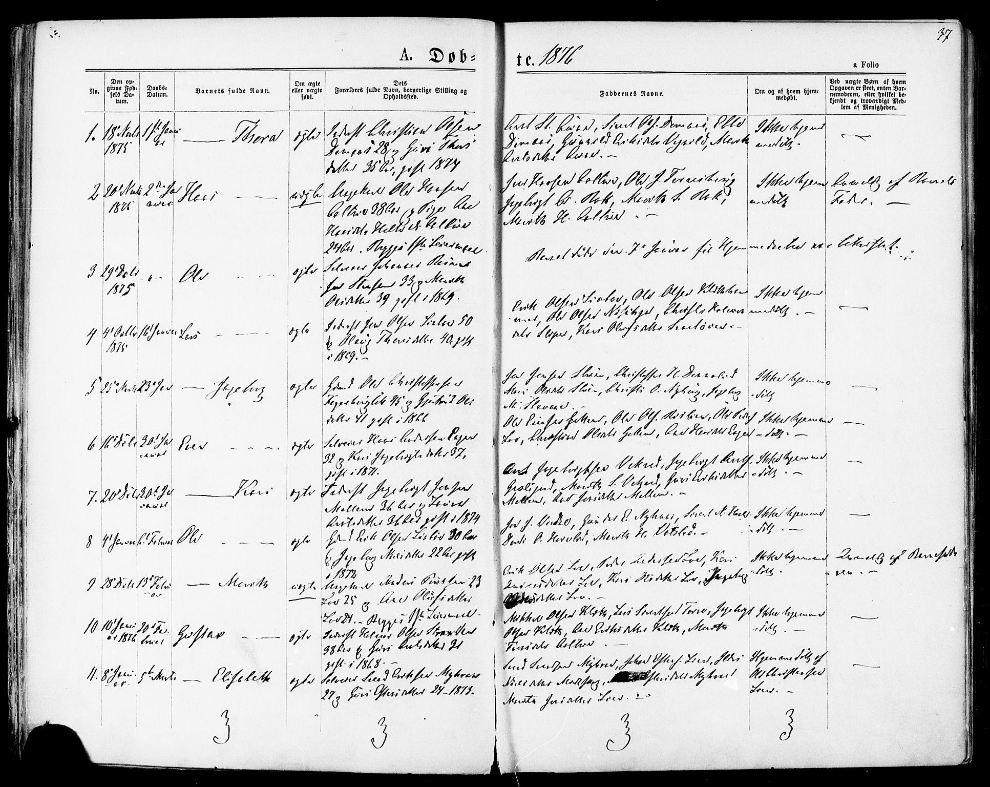 SAT, Ministerialprotokoller, klokkerbøker og fødselsregistre - Sør-Trøndelag, 678/L0900: Ministerialbok nr. 678A09, 1872-1881, s. 37