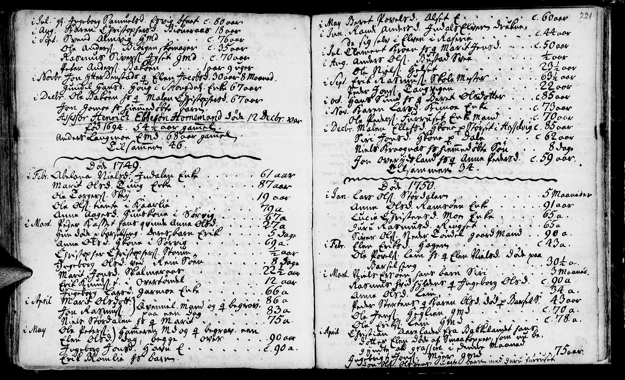 SAT, Ministerialprotokoller, klokkerbøker og fødselsregistre - Sør-Trøndelag, 646/L0604: Ministerialbok nr. 646A02, 1735-1750, s. 220-221
