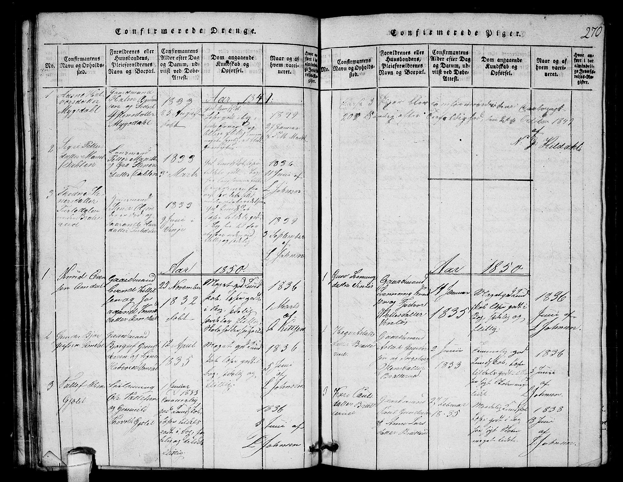 SAKO, Lårdal kirkebøker, G/Gb/L0001: Klokkerbok nr. II 1, 1815-1865, s. 270