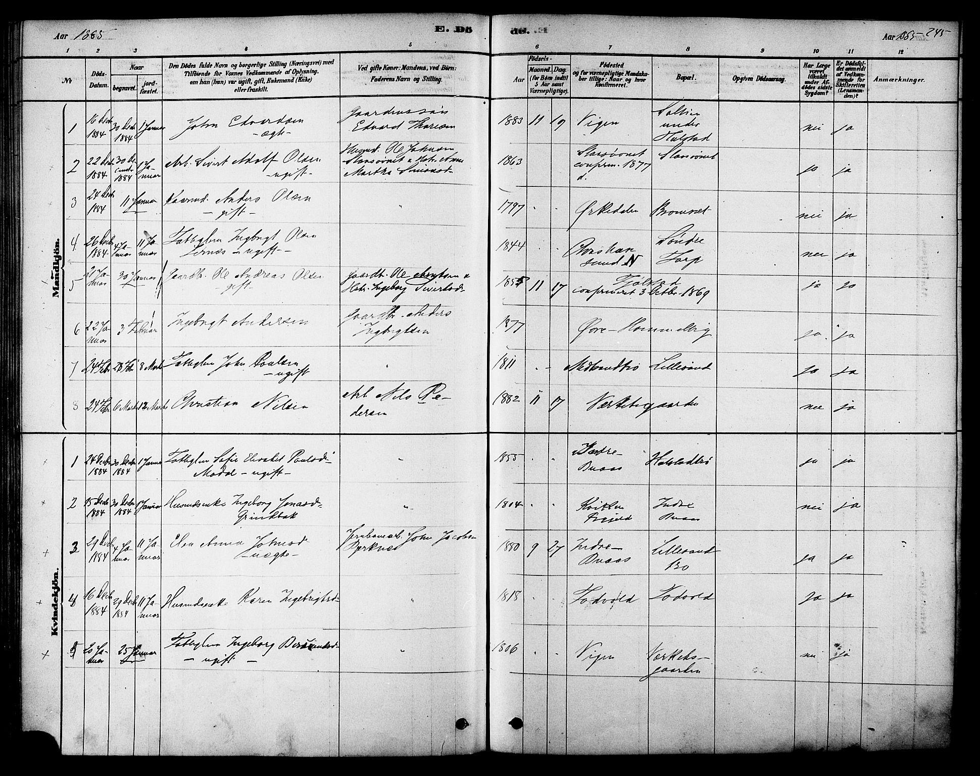 SAT, Ministerialprotokoller, klokkerbøker og fødselsregistre - Sør-Trøndelag, 616/L0410: Ministerialbok nr. 616A07, 1878-1893, s. 245