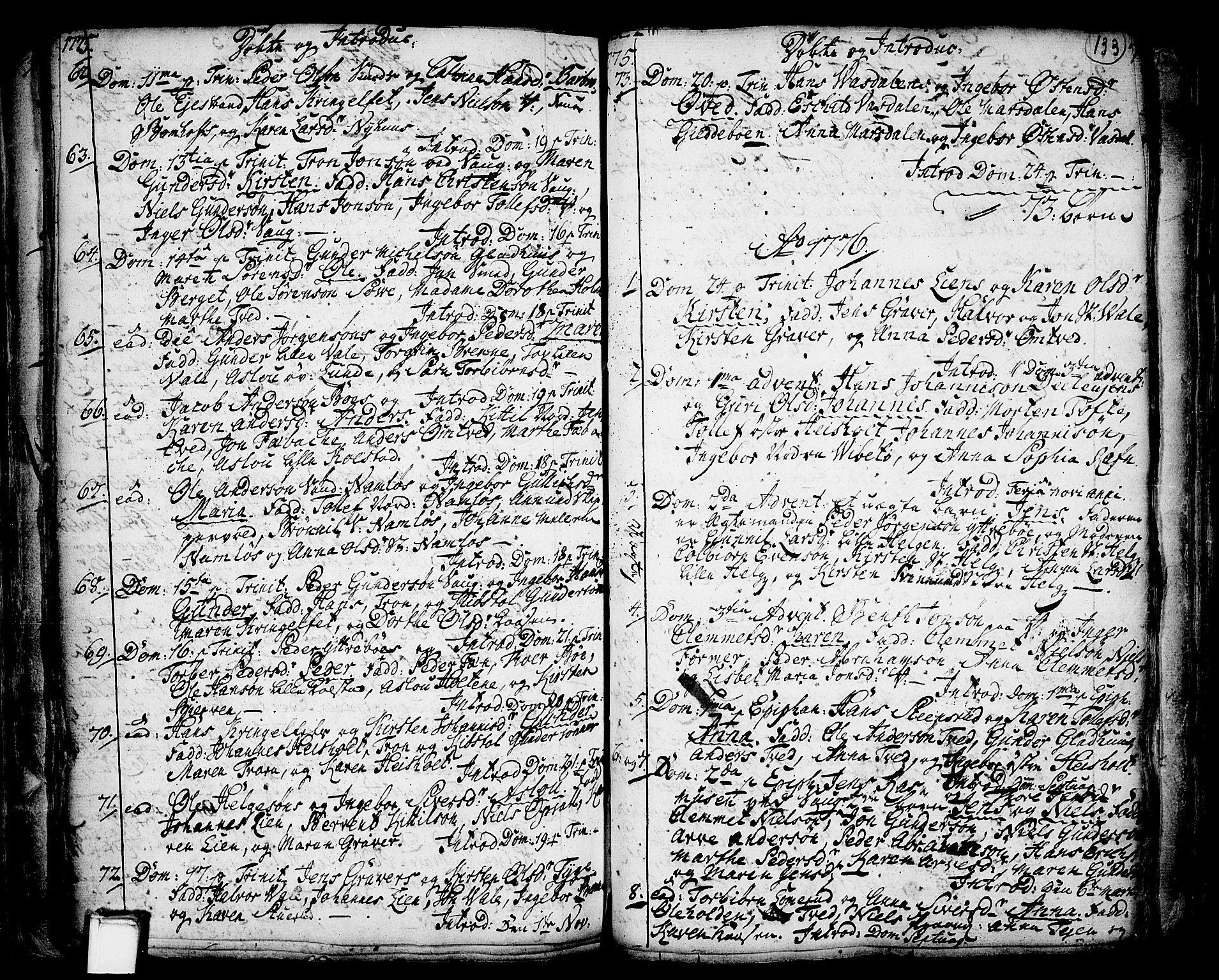 SAKO, Holla kirkebøker, F/Fa/L0001: Ministerialbok nr. 1, 1717-1779, s. 133