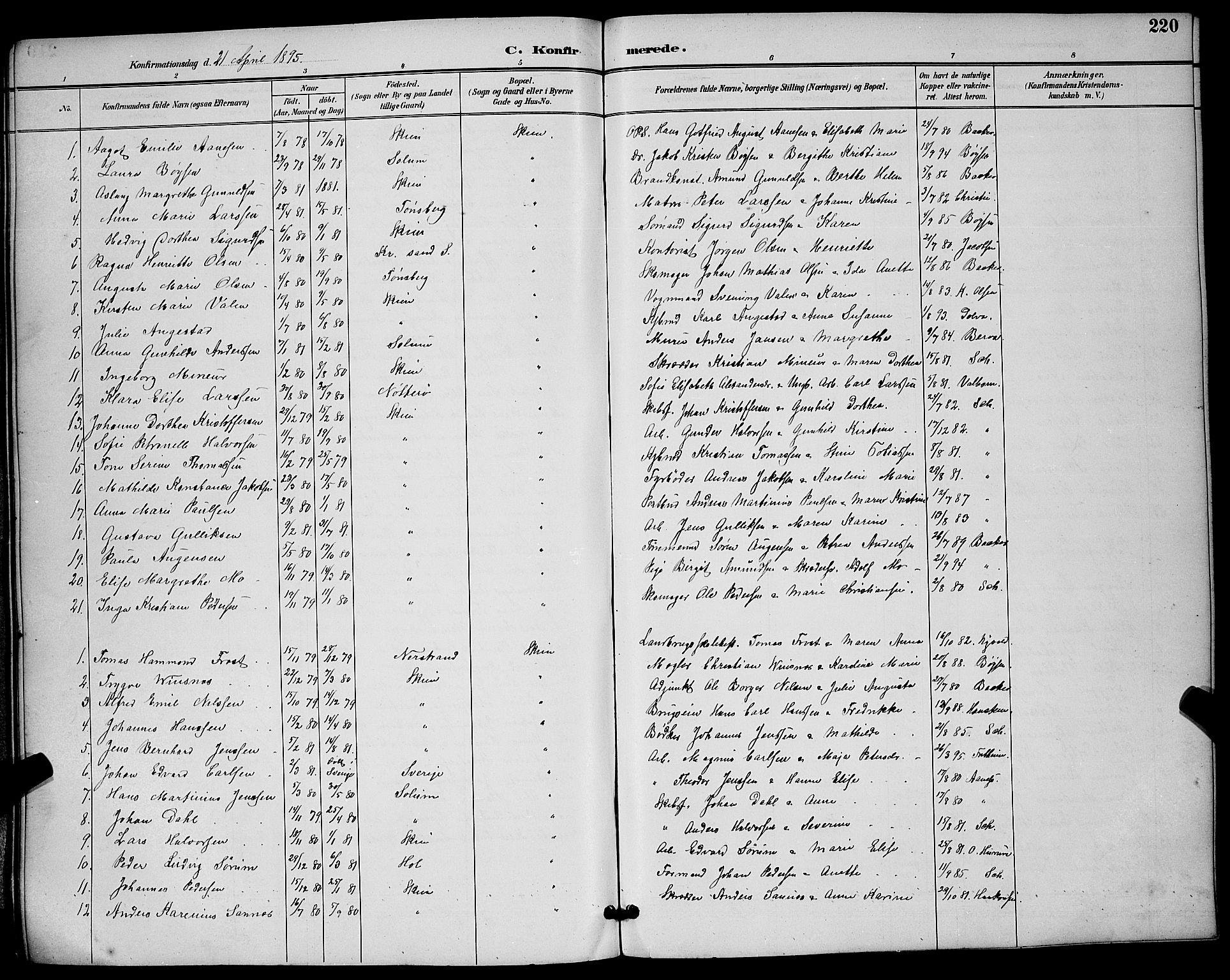 SAKO, Skien kirkebøker, G/Ga/L0007: Klokkerbok nr. 7, 1891-1900, s. 220