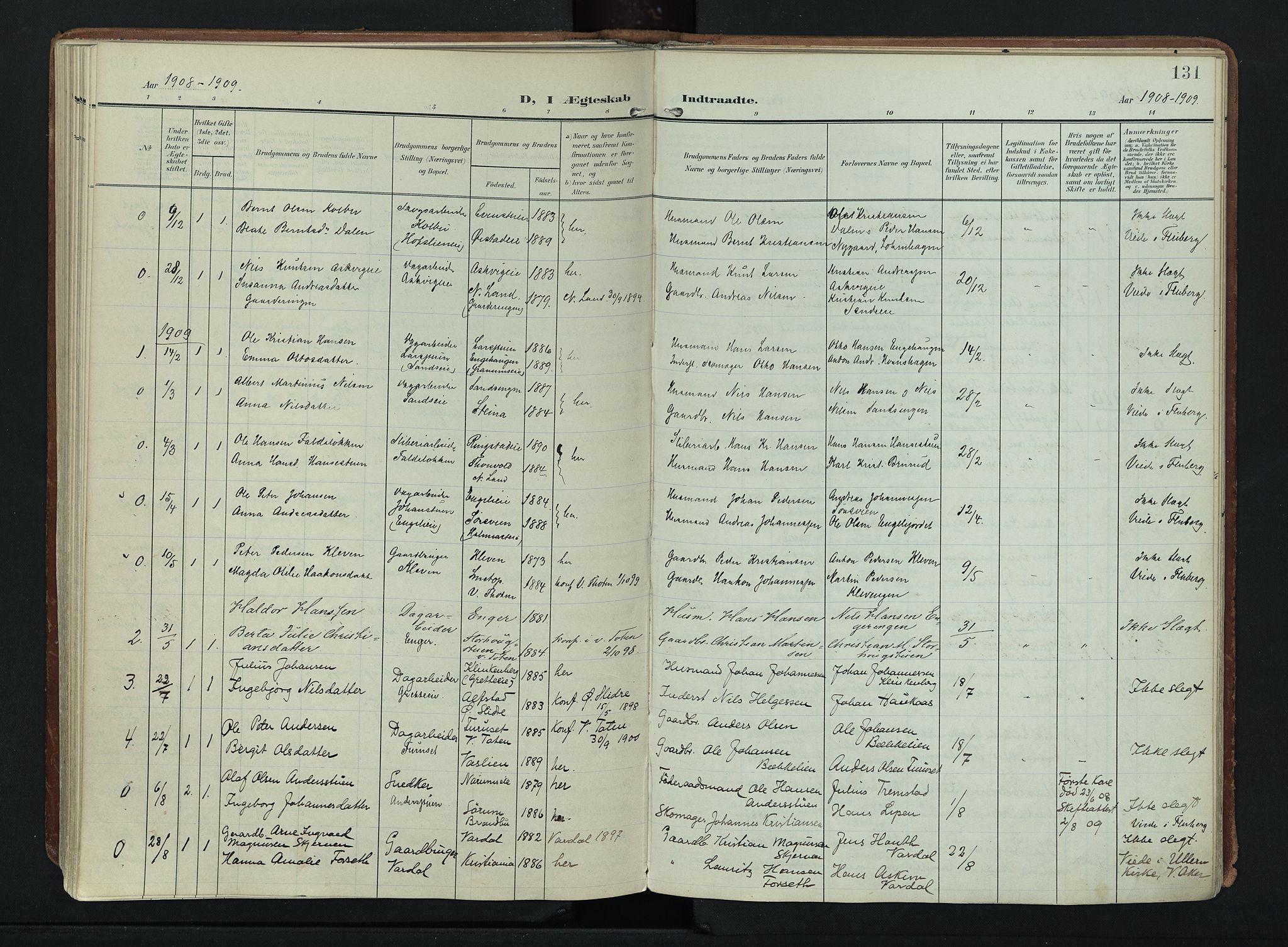 SAH, Søndre Land prestekontor, K/L0007: Ministerialbok nr. 7, 1905-1914, s. 131