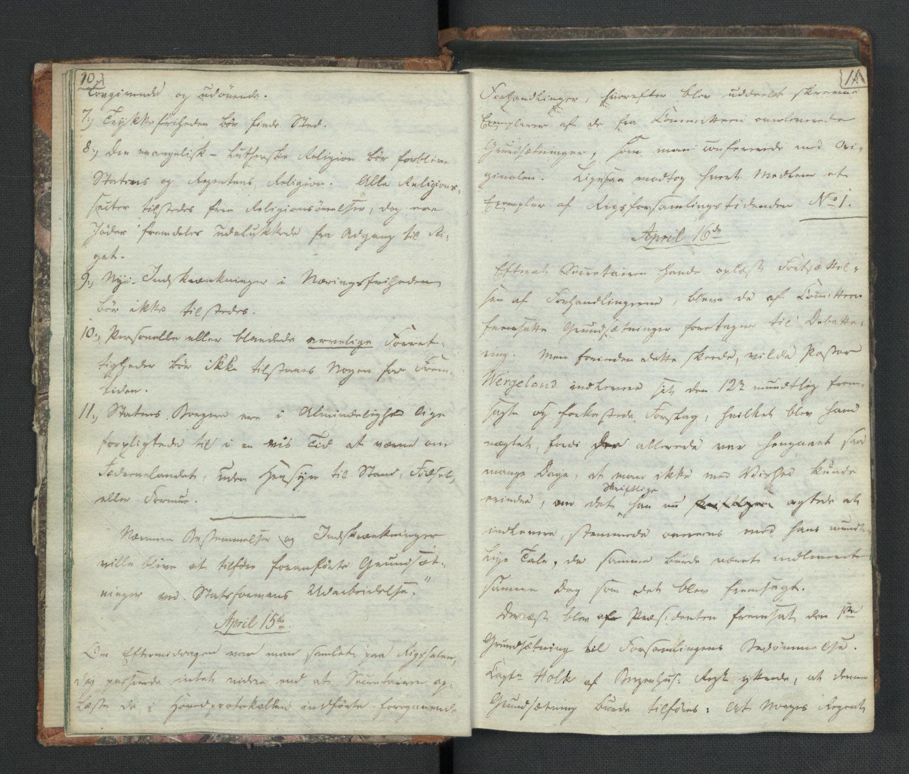RA, Manuskriptsamlingen, H/L0021: Byfogd Gregers Winther Wulfbergs dagbok under Riksforsamlingen på Eidsvoll, 1814, s. 10-11