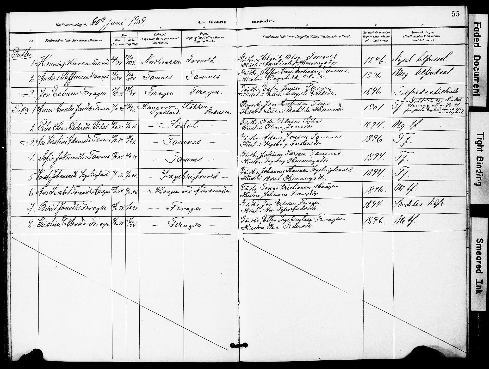 SAT, Ministerialprotokoller, klokkerbøker og fødselsregistre - Sør-Trøndelag, 683/L0950: Klokkerbok nr. 683C02, 1897-1918, s. 55