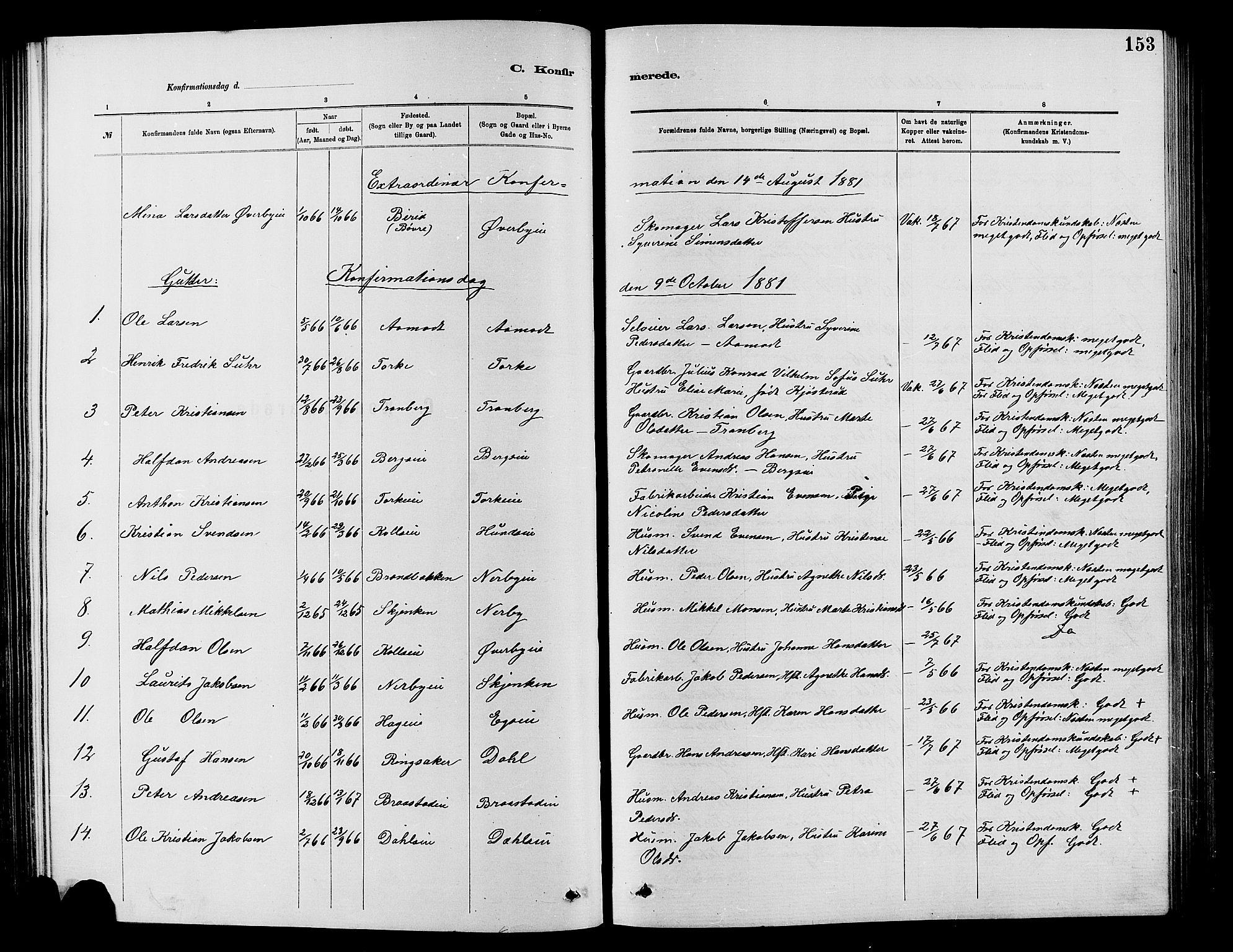 SAH, Vardal prestekontor, H/Ha/Hab/L0007: Klokkerbok nr. 7 /1, 1881-1895, s. 153