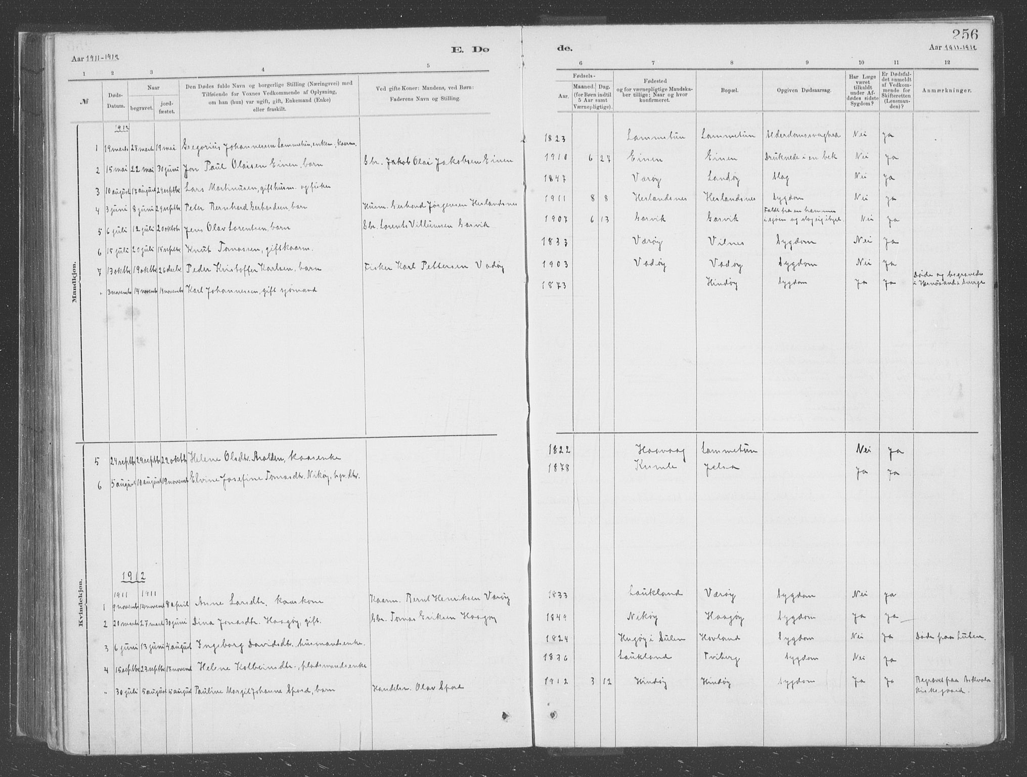 SAB, Askvoll sokneprestembete, H/Haa/Haac/L0001: Ministerialbok nr. C  1, 1879-1922, s. 256
