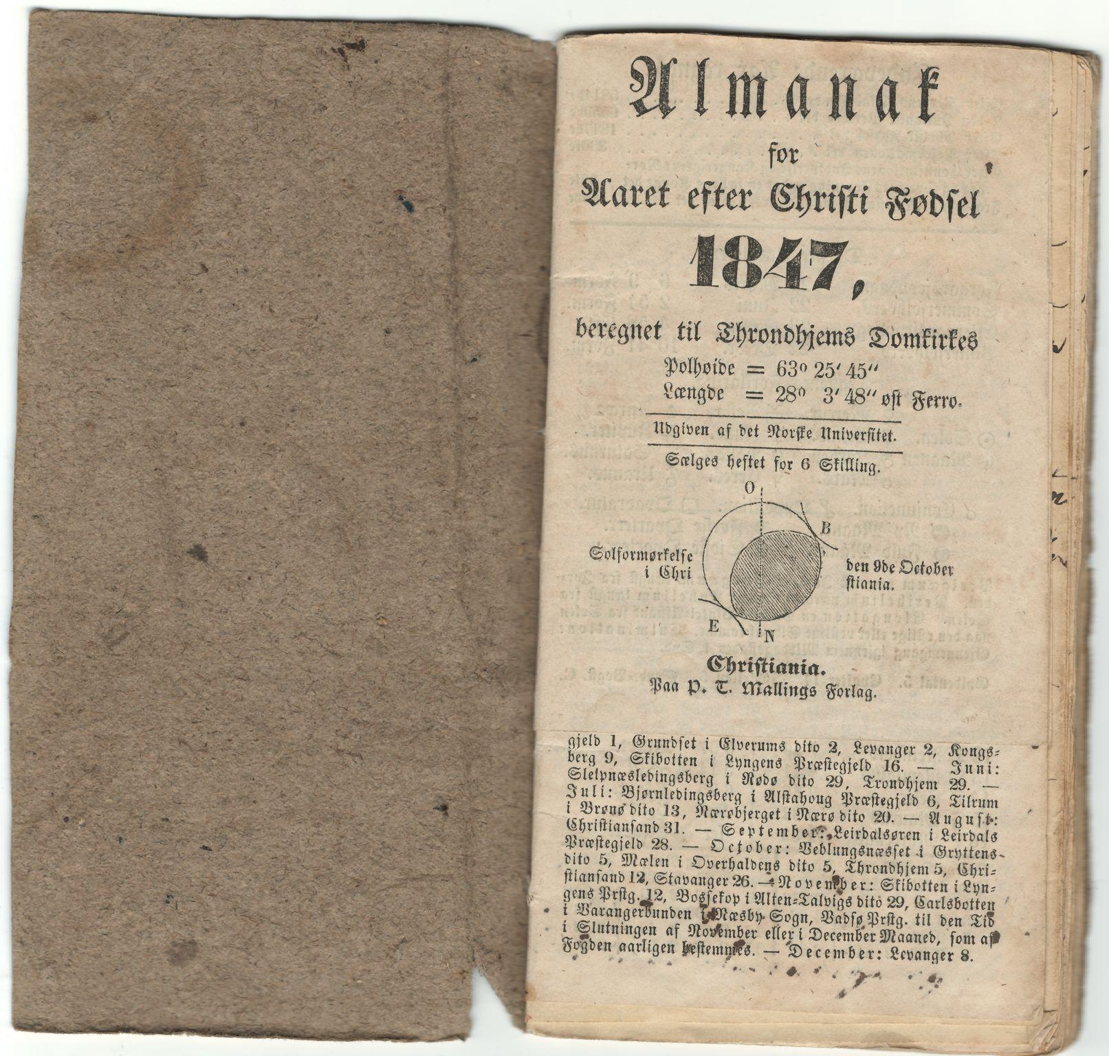 HEMUD, Nordvika gamle handelssted, : Journal ført om bord i jekten Kathrine Elise 1847, 1847