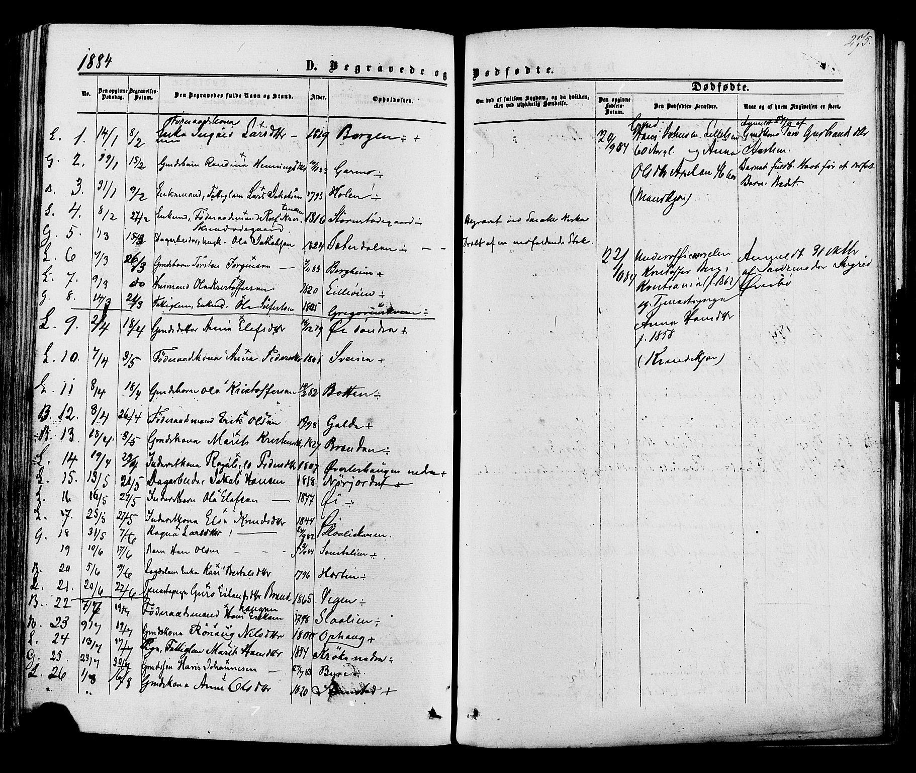 SAH, Lom prestekontor, K/L0007: Ministerialbok nr. 7, 1863-1884, s. 275