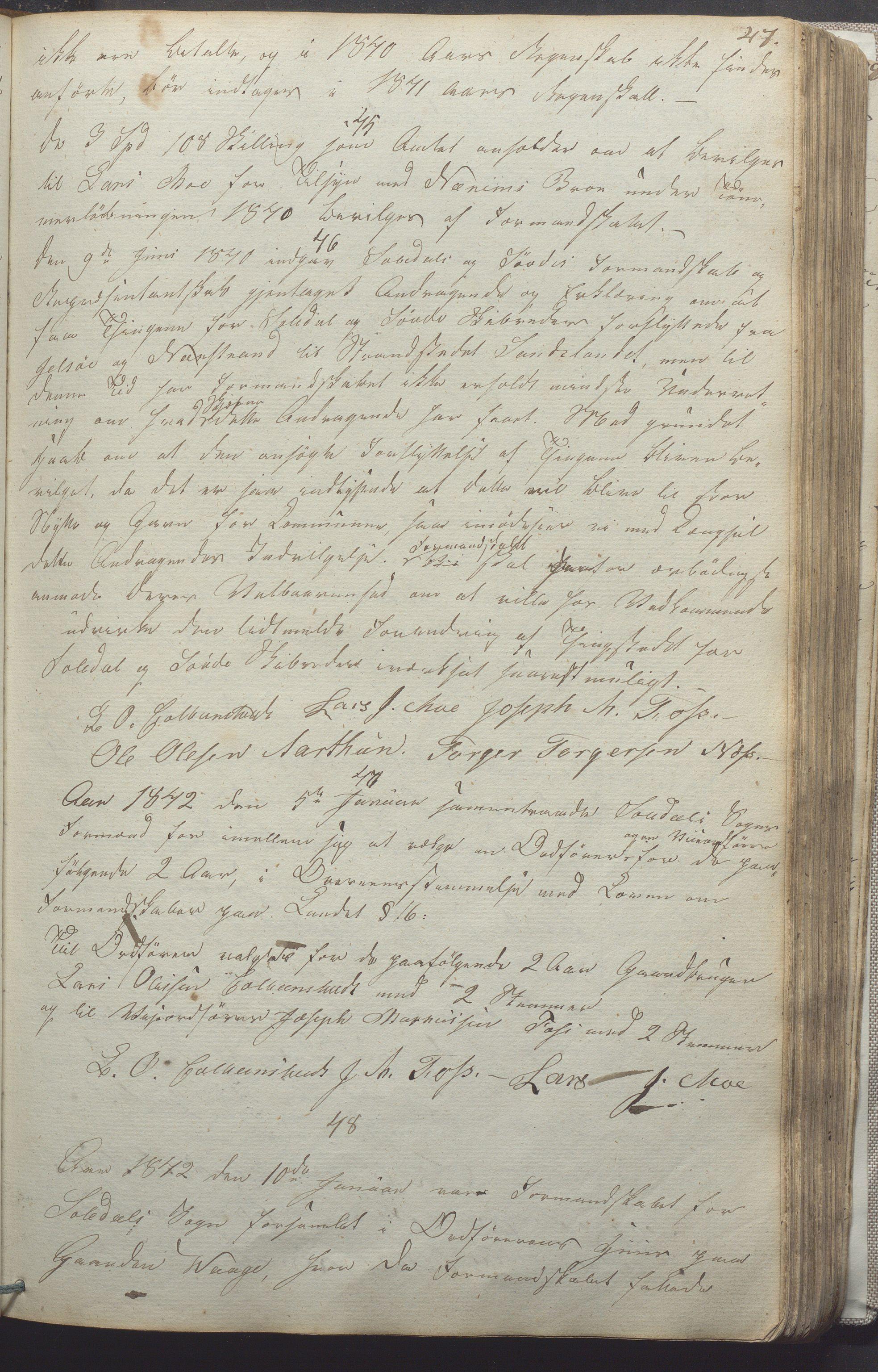 IKAR, Suldal kommune - Formannskapet/Rådmannen, A/Aa/L0001: Møtebok, 1837-1876, s. 47a