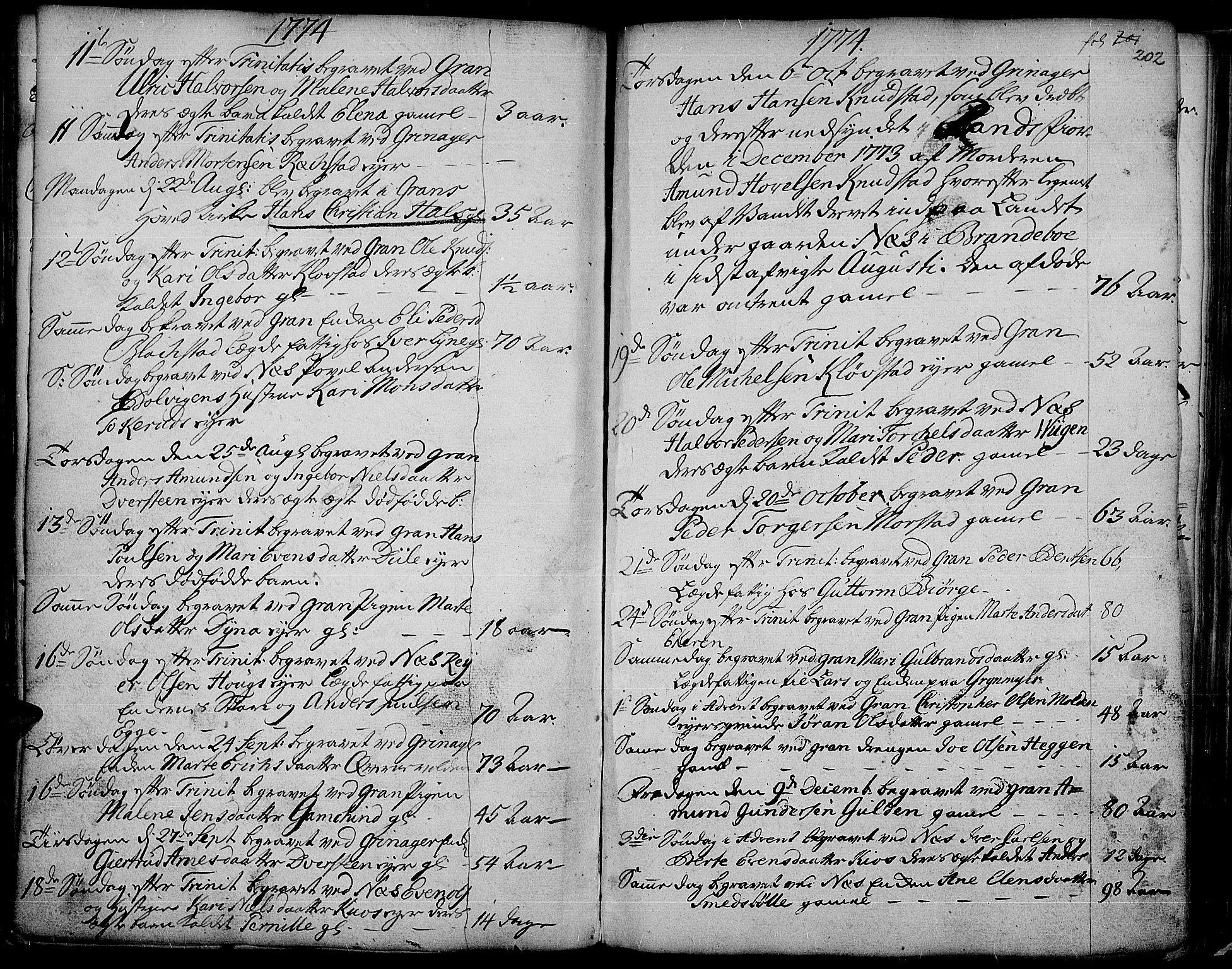 SAH, Gran prestekontor, Ministerialbok nr. 4, 1759-1775, s. 202