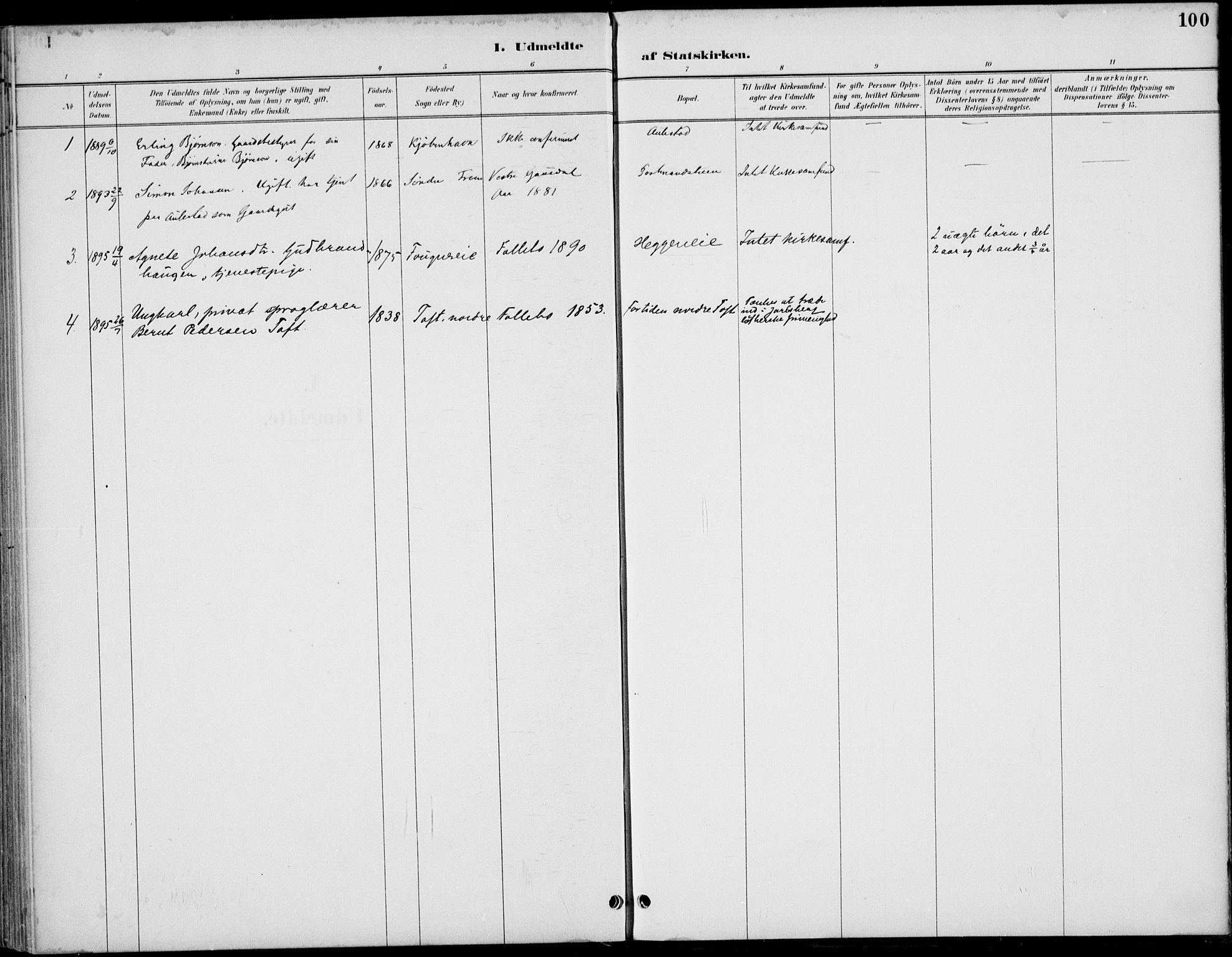 SAH, Østre Gausdal prestekontor, Ministerialbok nr. 3, 1887-1901, s. 100