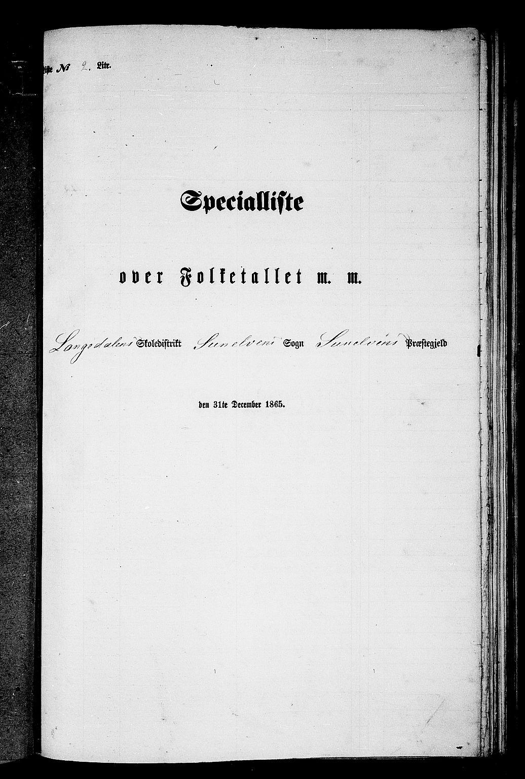 RA, Folketelling 1865 for 1523P Sunnylven prestegjeld, 1865, s. 19