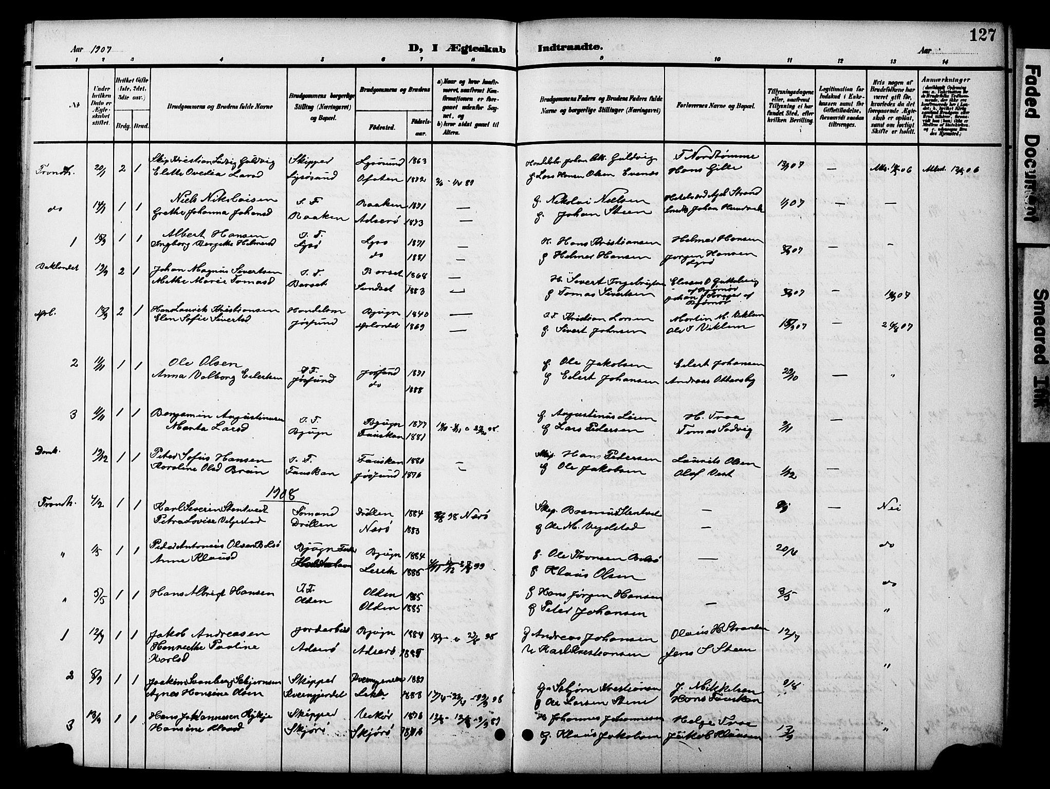 SAT, Ministerialprotokoller, klokkerbøker og fødselsregistre - Sør-Trøndelag, 654/L0666: Klokkerbok nr. 654C02, 1901-1925, s. 127