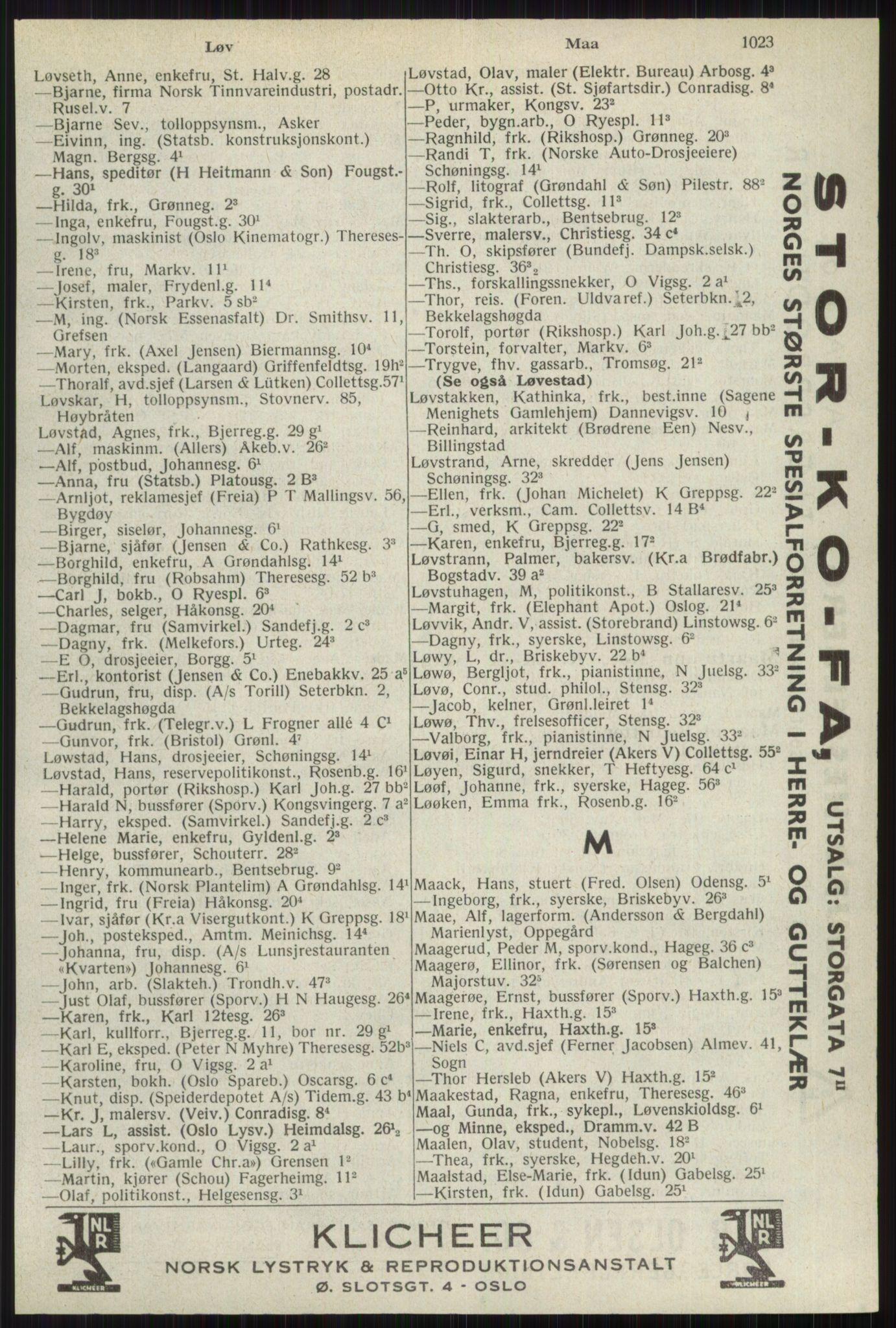 RA, Oslo adressebok (publikasjon)*, 1941, s. 1023