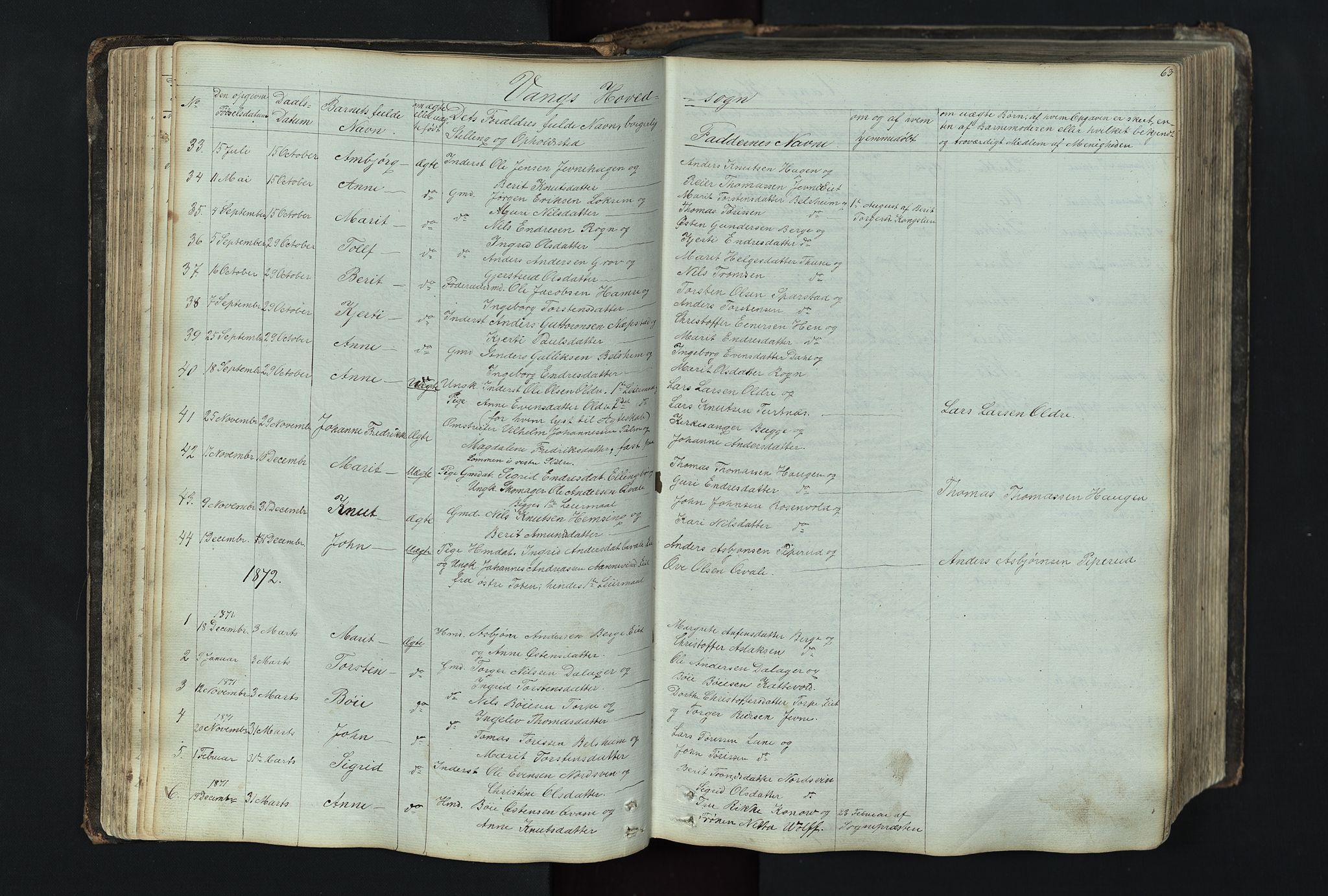 SAH, Vang prestekontor, Valdres, Klokkerbok nr. 4, 1835-1892, s. 63