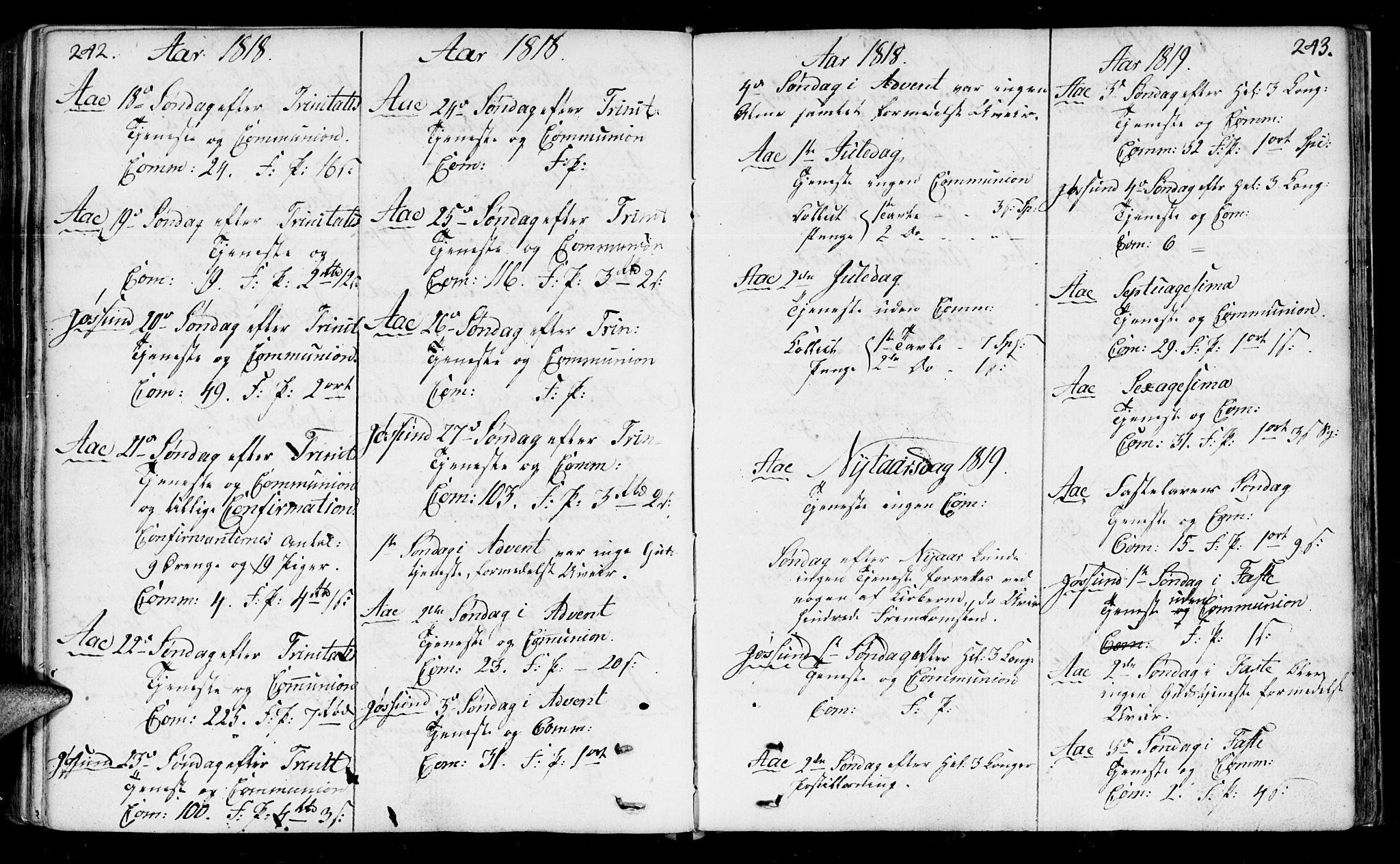 SAT, Ministerialprotokoller, klokkerbøker og fødselsregistre - Sør-Trøndelag, 655/L0674: Ministerialbok nr. 655A03, 1802-1826, s. 242-243
