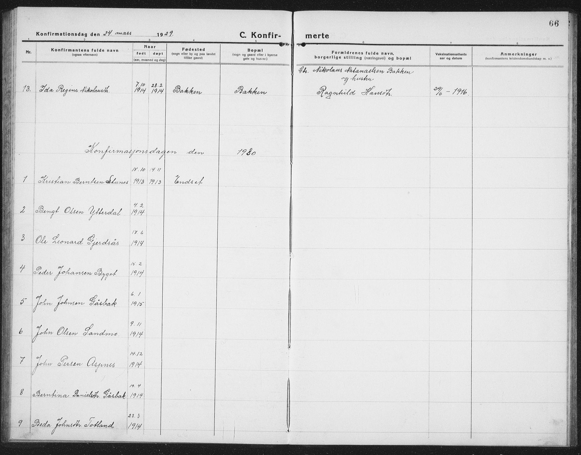 SAT, Ministerialprotokoller, klokkerbøker og fødselsregistre - Nord-Trøndelag, 757/L0507: Klokkerbok nr. 757C02, 1923-1939, s. 66