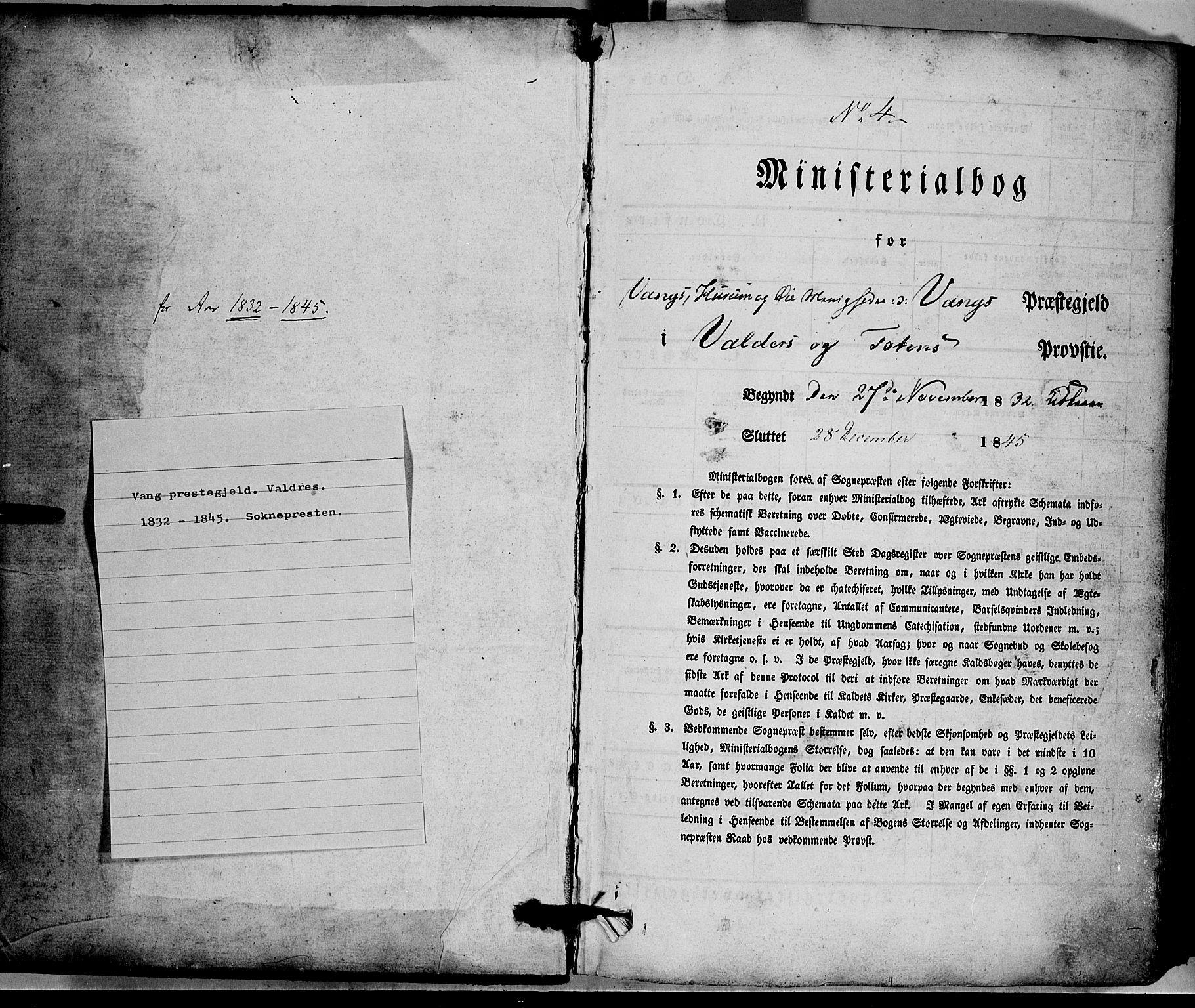 SAH, Vang prestekontor, Valdres, Ministerialbok nr. 5, 1831-1845