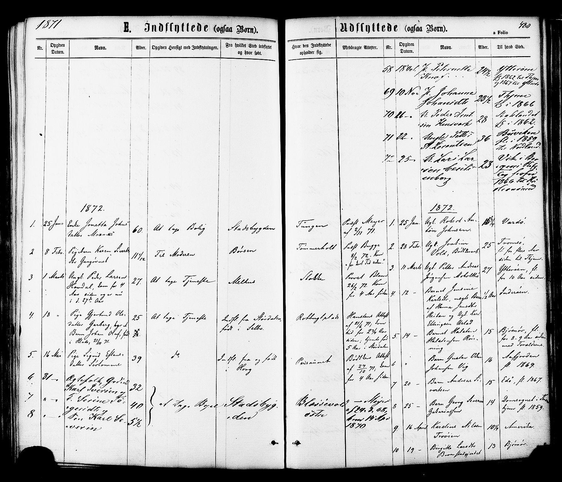 SAT, Ministerialprotokoller, klokkerbøker og fødselsregistre - Sør-Trøndelag, 606/L0293: Ministerialbok nr. 606A08, 1866-1877, s. 480