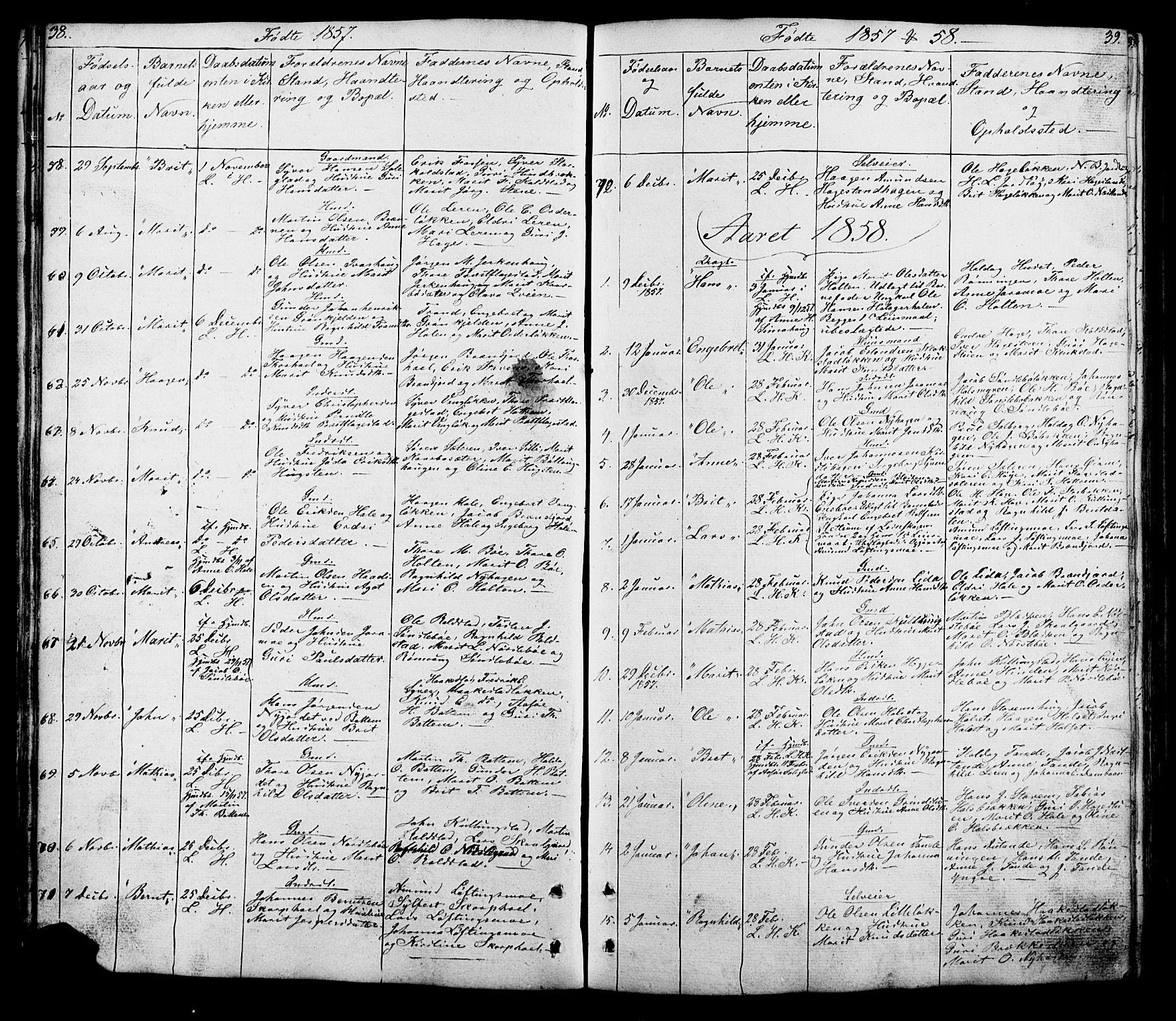 SAH, Lesja prestekontor, Klokkerbok nr. 5, 1850-1894, s. 38-39