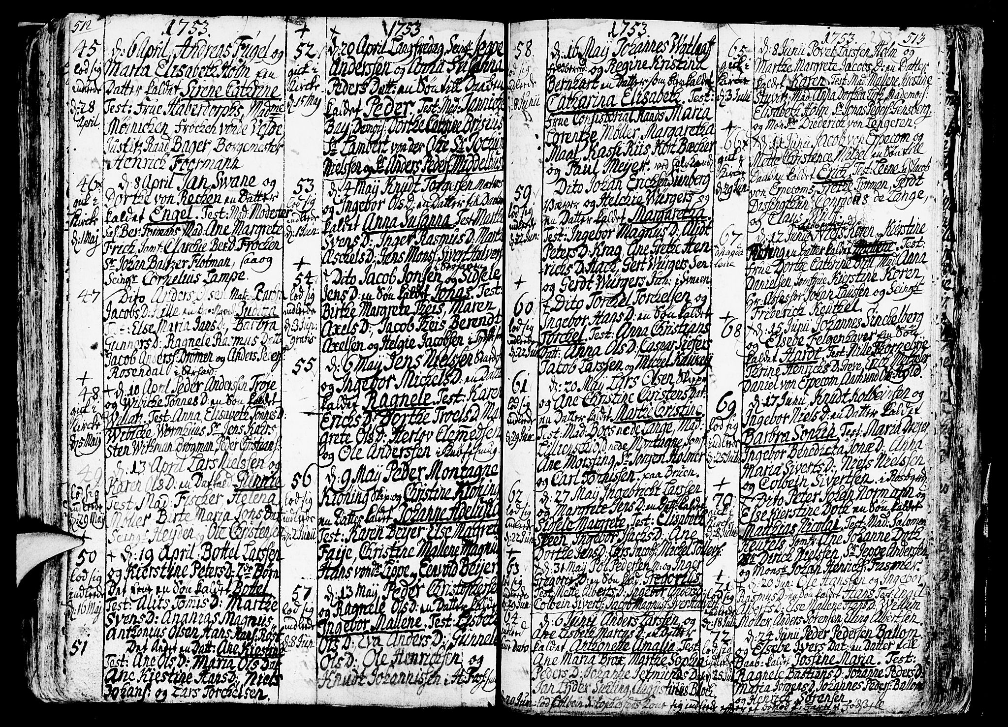 SAB, Nykirken Sokneprestembete, H/Haa: Ministerialbok nr. A 3, 1717-1764, s. 253