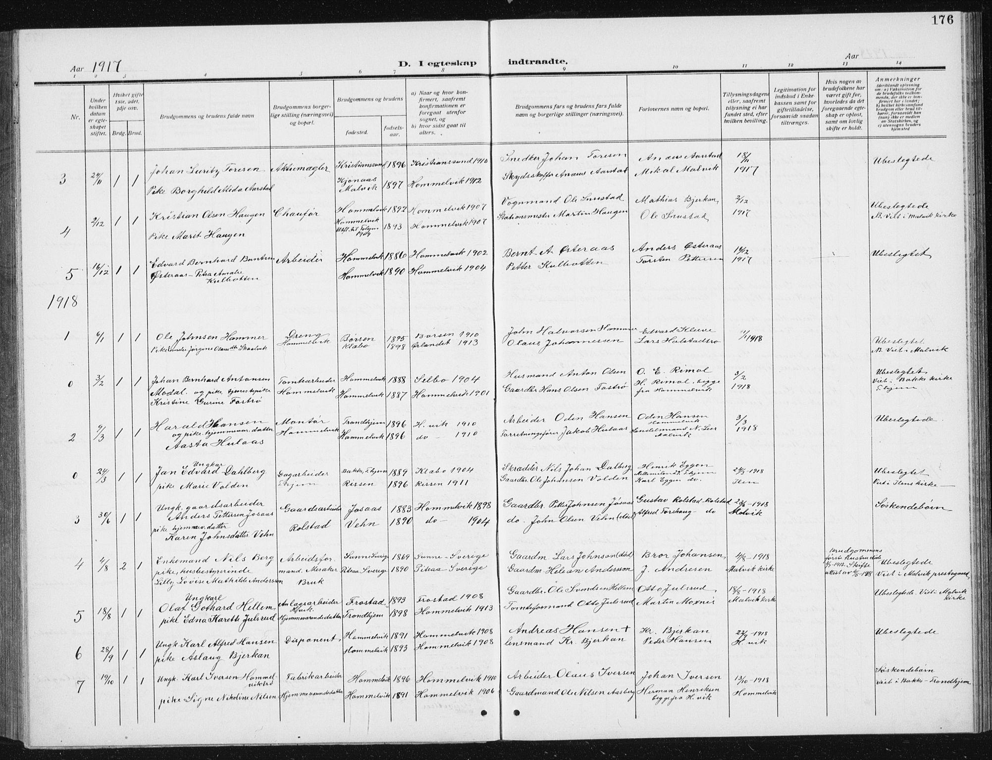 SAT, Ministerialprotokoller, klokkerbøker og fødselsregistre - Sør-Trøndelag, 617/L0431: Klokkerbok nr. 617C02, 1910-1936, s. 176