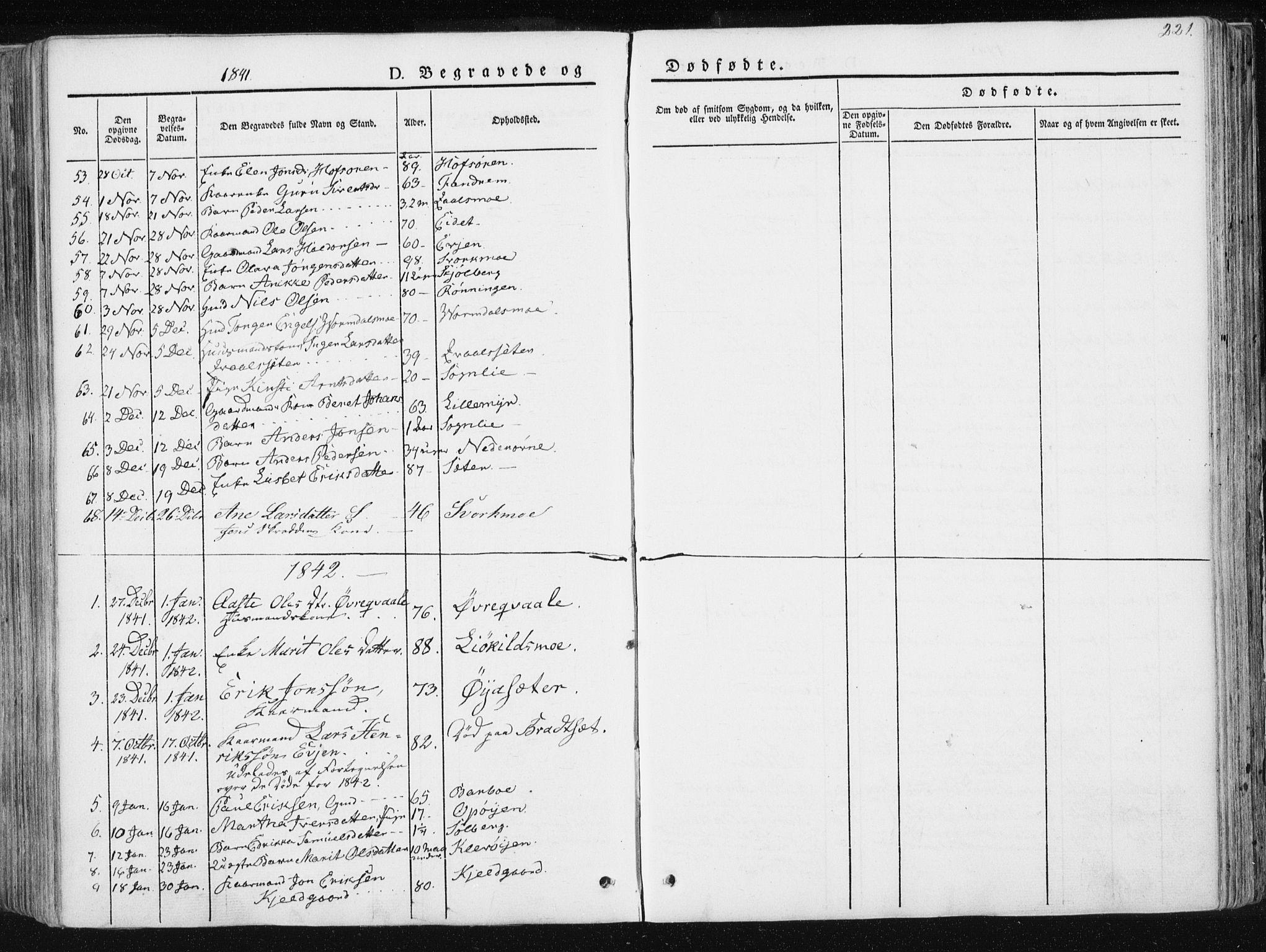 SAT, Ministerialprotokoller, klokkerbøker og fødselsregistre - Sør-Trøndelag, 668/L0805: Ministerialbok nr. 668A05, 1840-1853, s. 221