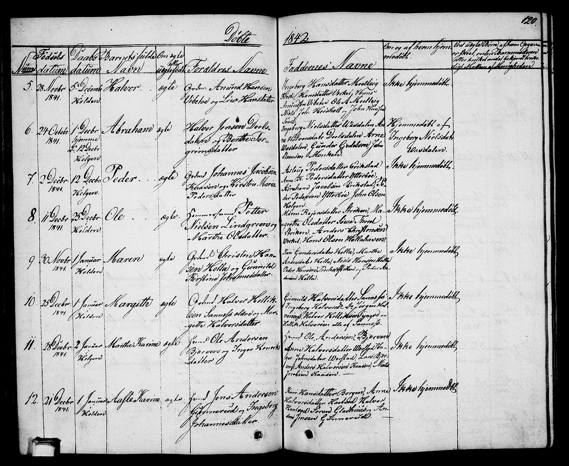 SAKO, Holla kirkebøker, G/Ga/L0002: Klokkerbok nr. I 2, 1830-1848, s. 120