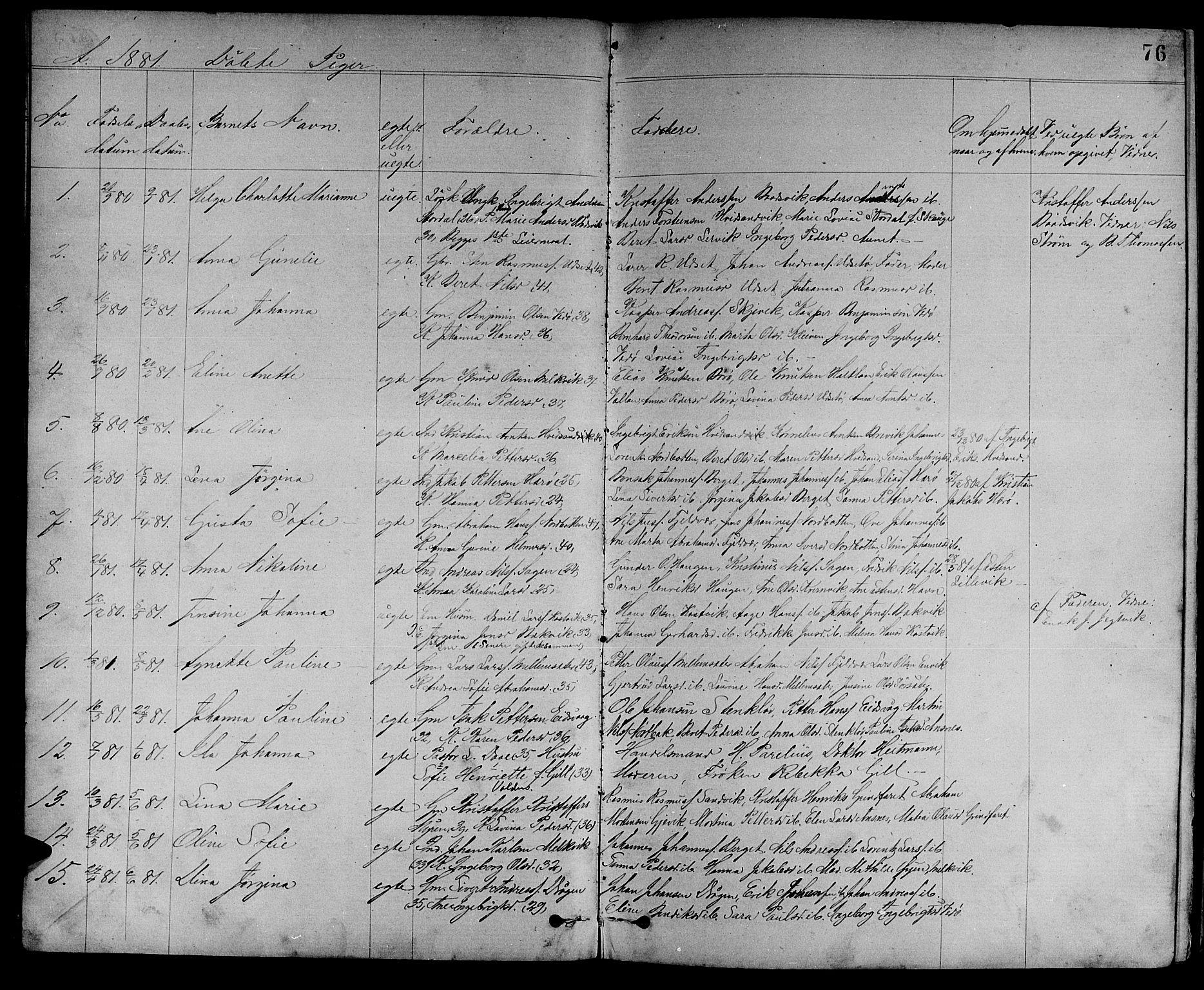 SAT, Ministerialprotokoller, klokkerbøker og fødselsregistre - Sør-Trøndelag, 637/L0561: Klokkerbok nr. 637C02, 1873-1882, s. 76