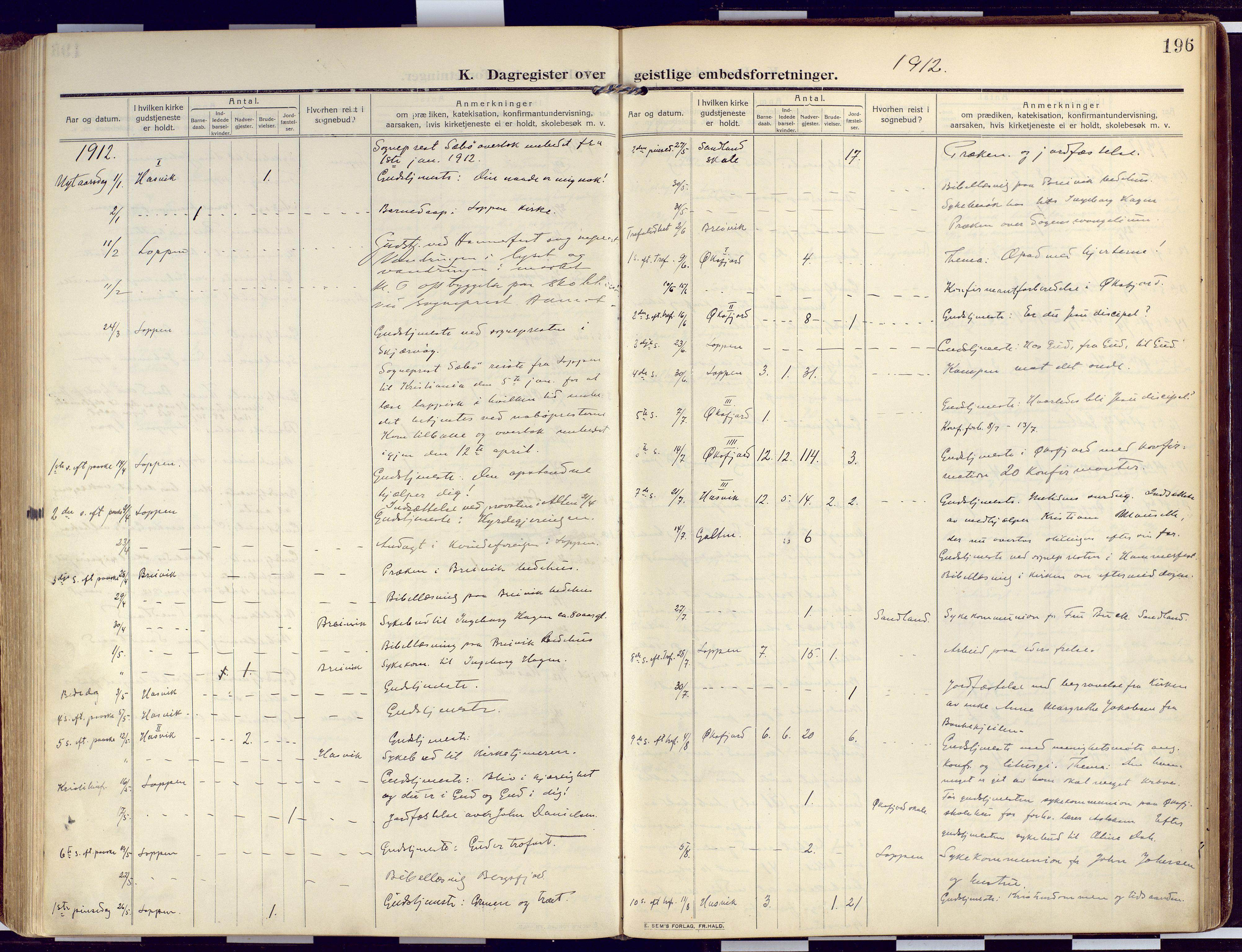 SATØ, Loppa sokneprestkontor, H/Ha/L0011kirke: Ministerialbok nr. 11, 1909-1919, s. 196
