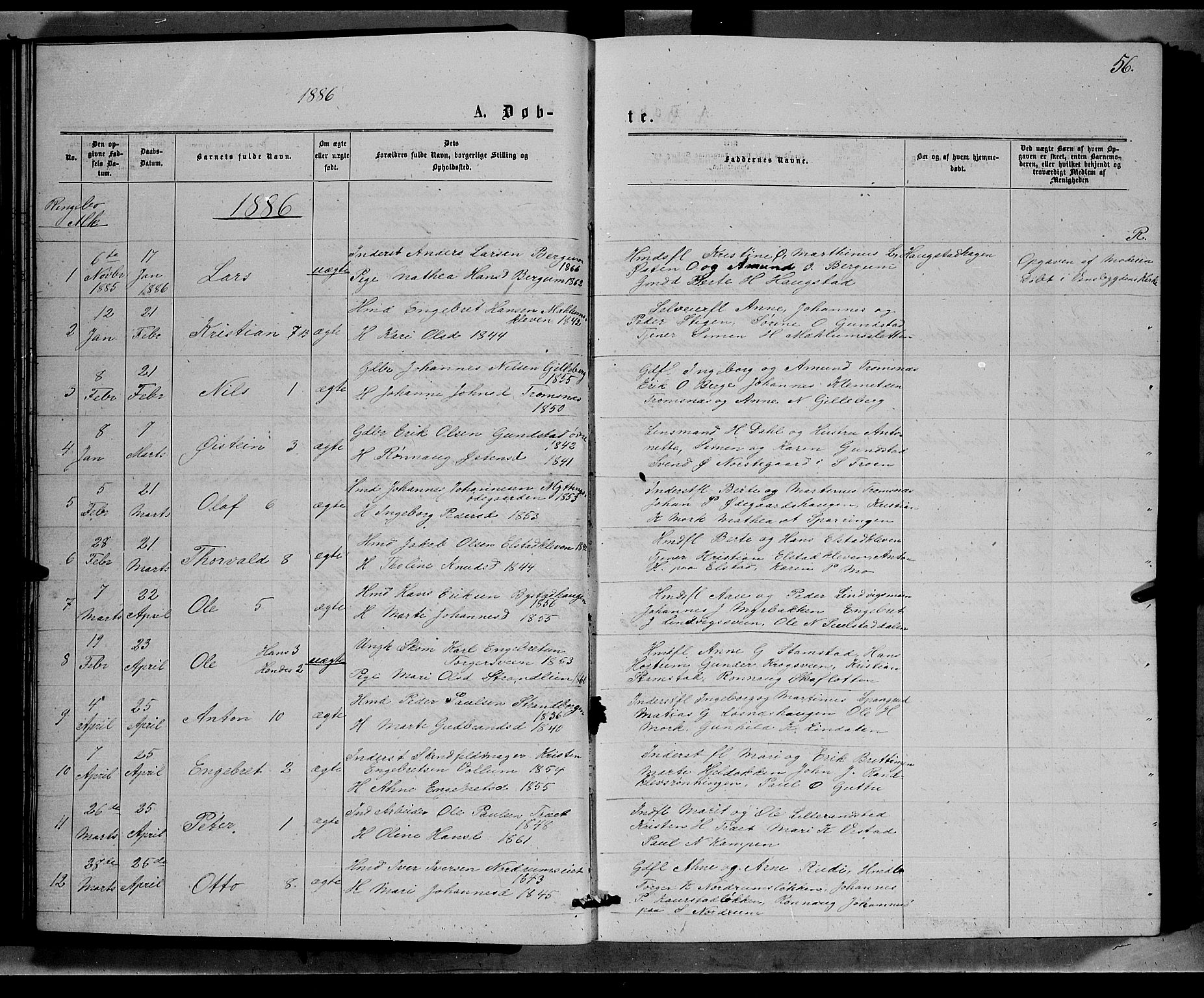 SAH, Ringebu prestekontor, Klokkerbok nr. 6, 1880-1898, s. 56