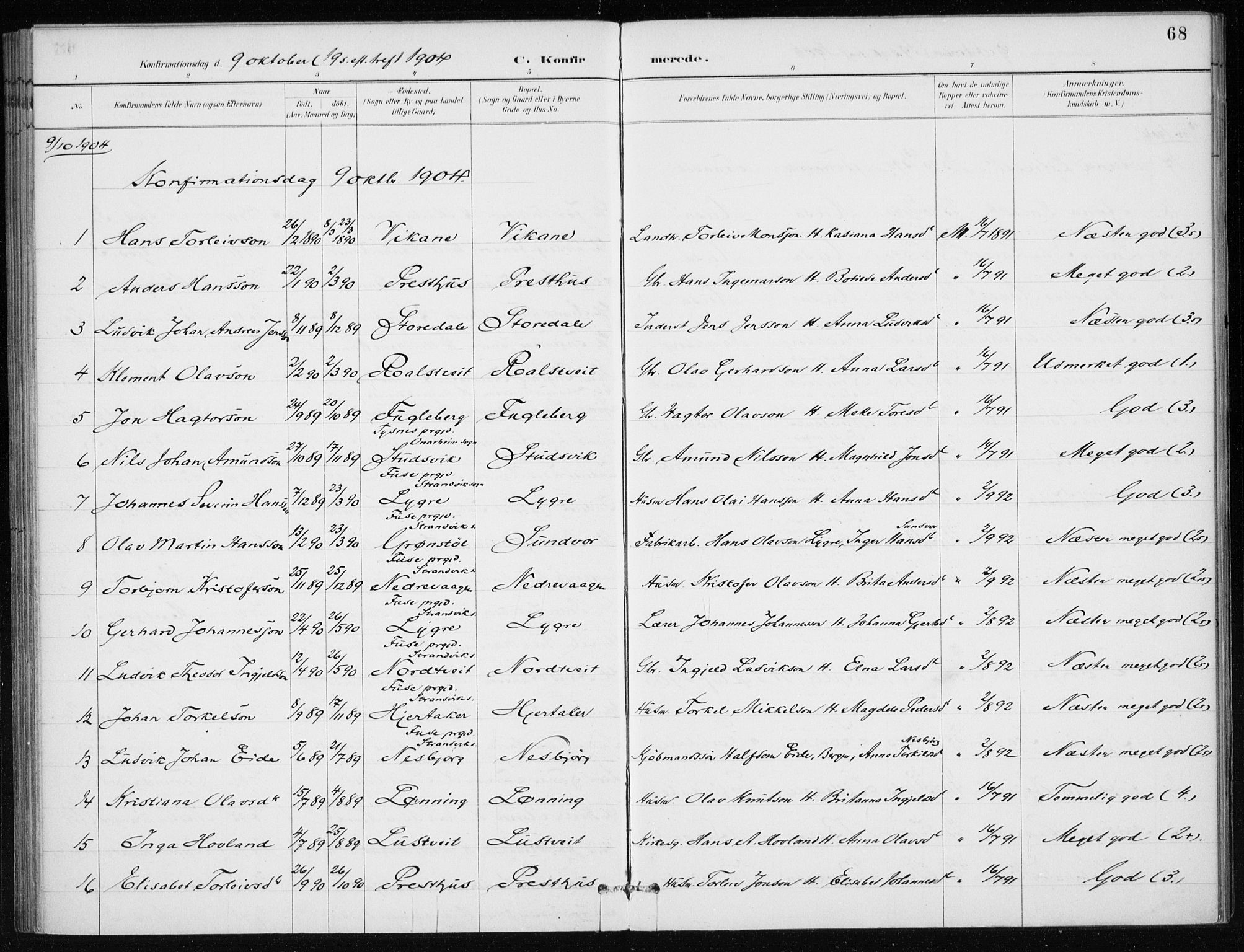 SAB, Kvinnherad Sokneprestembete, H/Haa: Ministerialbok nr. E 1, 1887-1912, s. 68