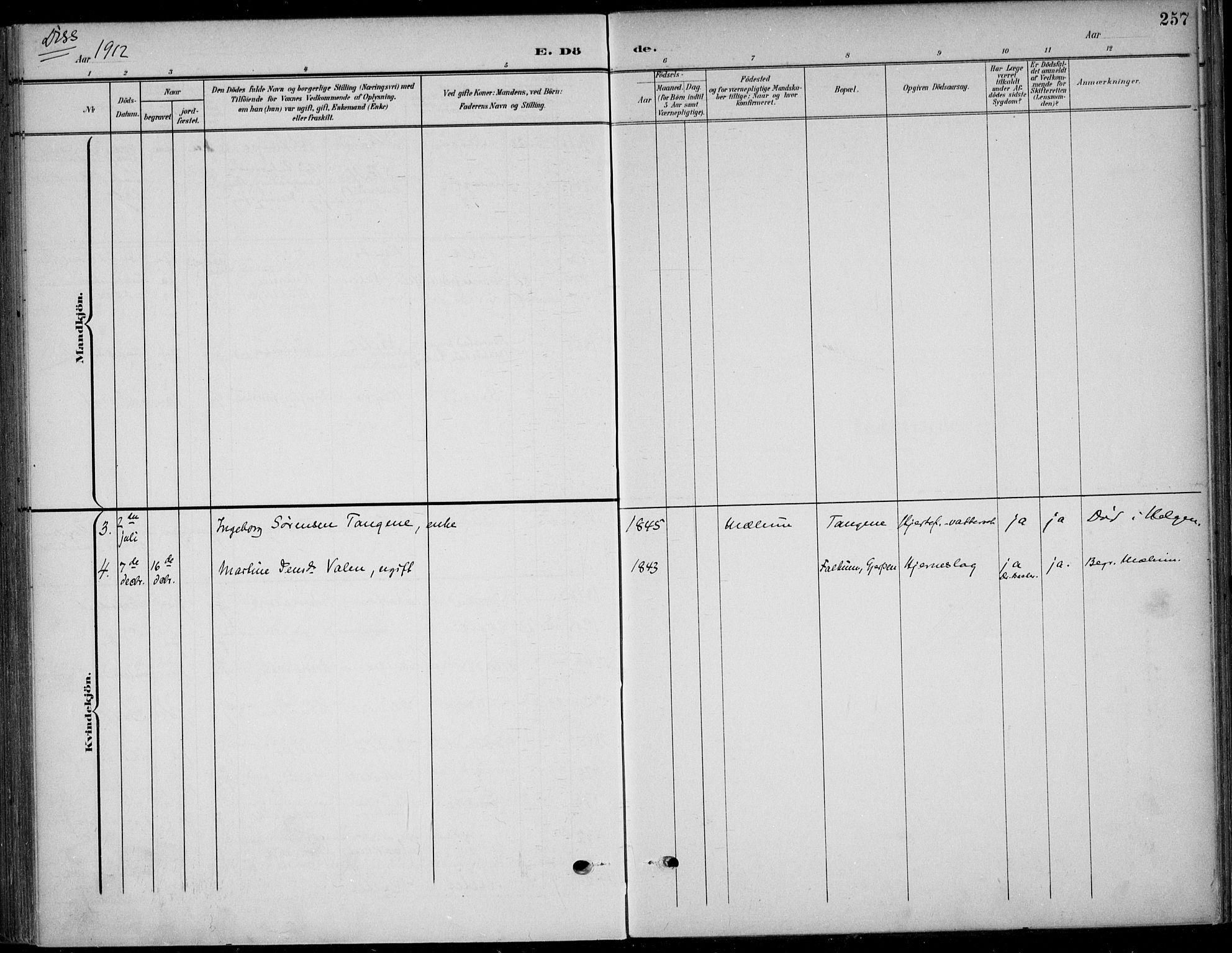 SAKO, Solum kirkebøker, F/Fb/L0003: Ministerialbok nr. II 3, 1901-1912, s. 257