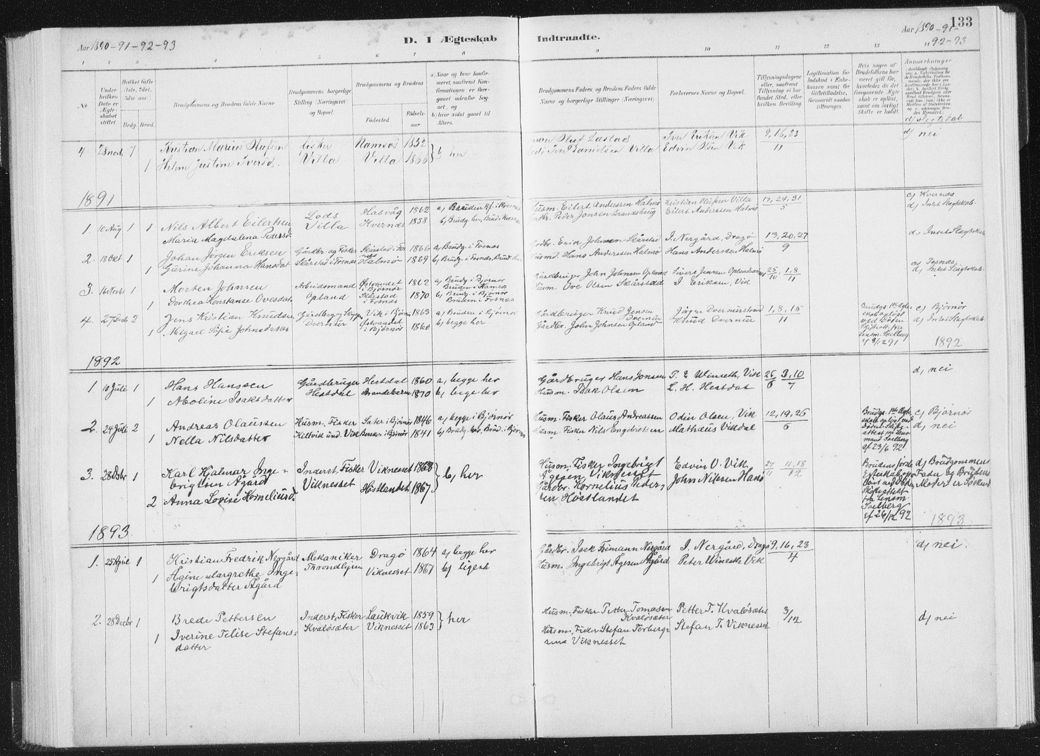 SAT, Ministerialprotokoller, klokkerbøker og fødselsregistre - Nord-Trøndelag, 771/L0597: Ministerialbok nr. 771A04, 1885-1910, s. 133