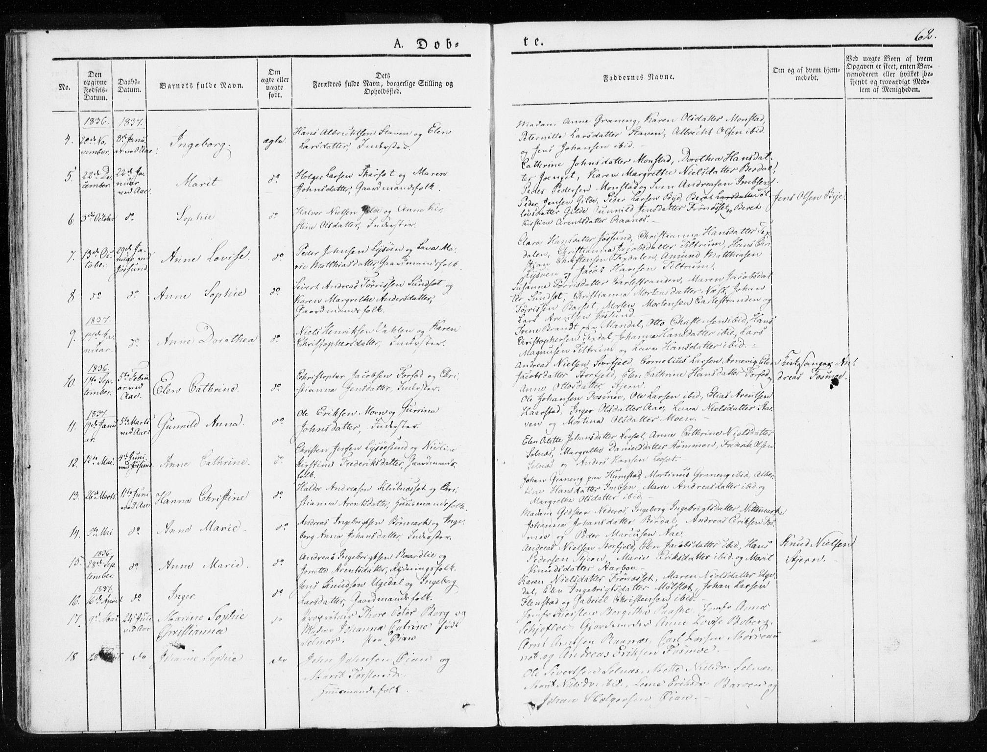 SAT, Ministerialprotokoller, klokkerbøker og fødselsregistre - Sør-Trøndelag, 655/L0676: Ministerialbok nr. 655A05, 1830-1847, s. 62