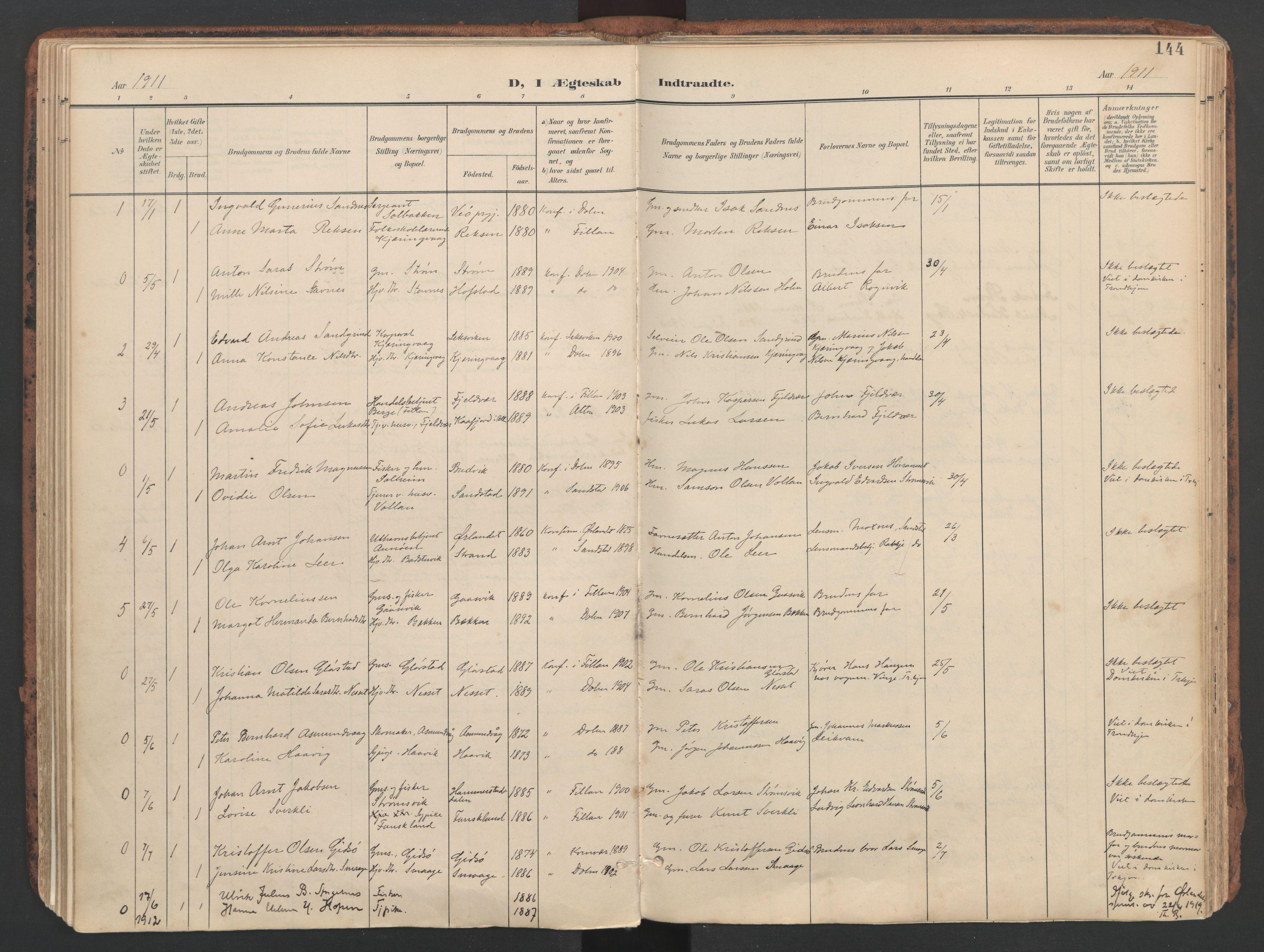 SAT, Ministerialprotokoller, klokkerbøker og fødselsregistre - Sør-Trøndelag, 634/L0537: Ministerialbok nr. 634A13, 1896-1922, s. 144