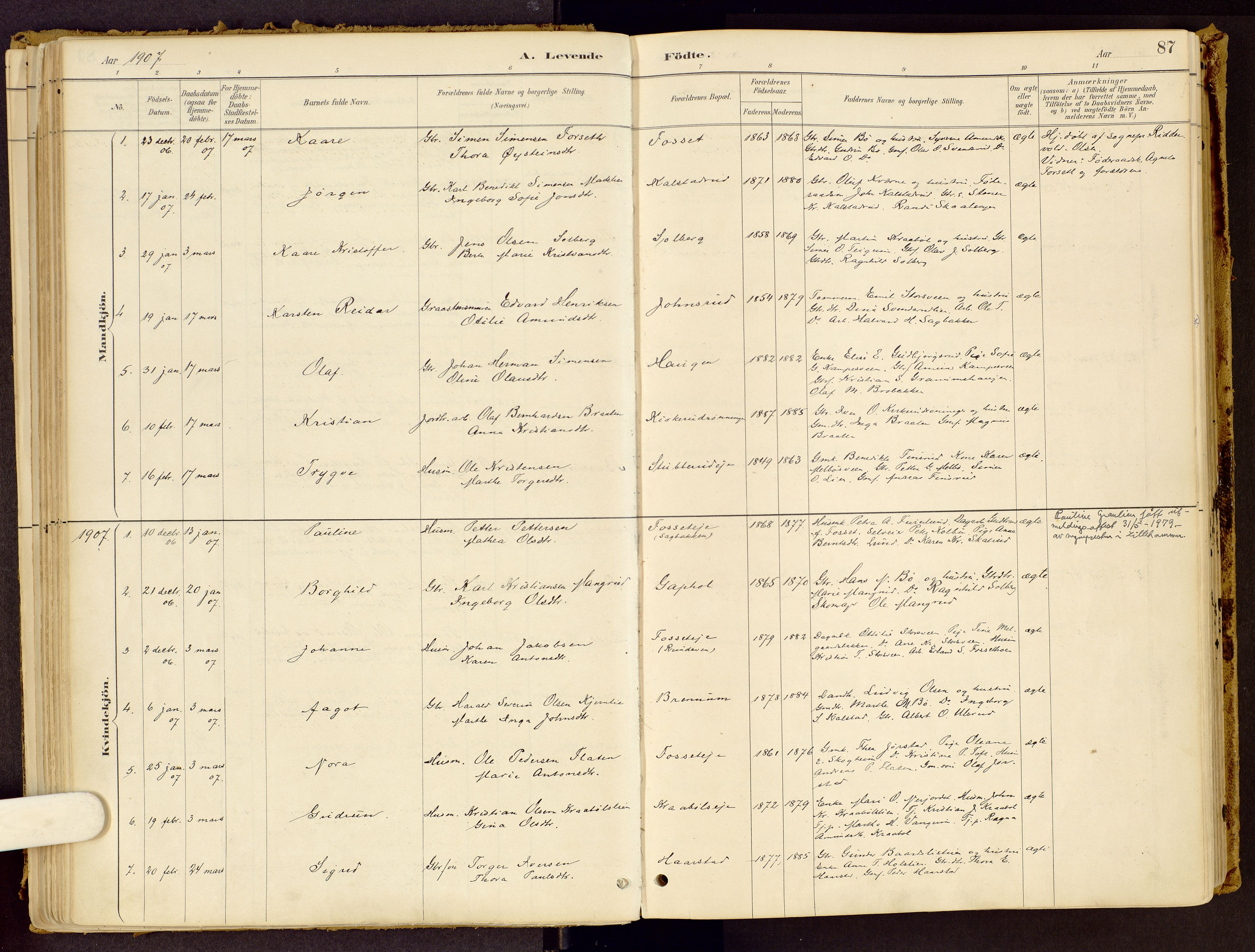 SAH, Vestre Gausdal prestekontor, Ministerialbok nr. 1, 1887-1914, s. 87