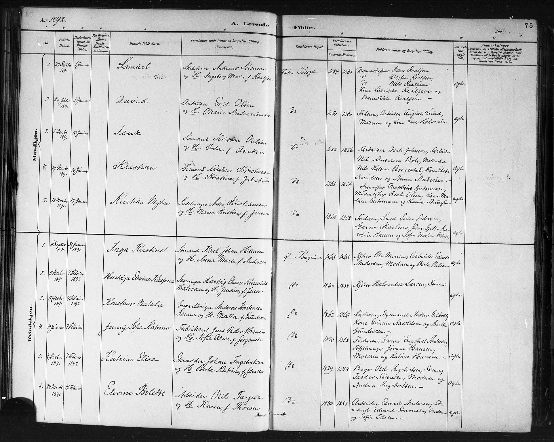 SAKO, Porsgrunn kirkebøker , G/Gb/L0005: Klokkerbok nr. II 5, 1883-1915, s. 75