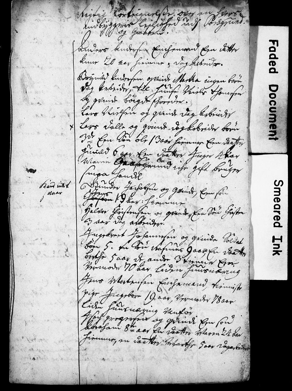 SAKO, Bratsberg Len og Amt, I/I34/L0342: Diverse manntall og fortegnelser, 1729, s. upaginert