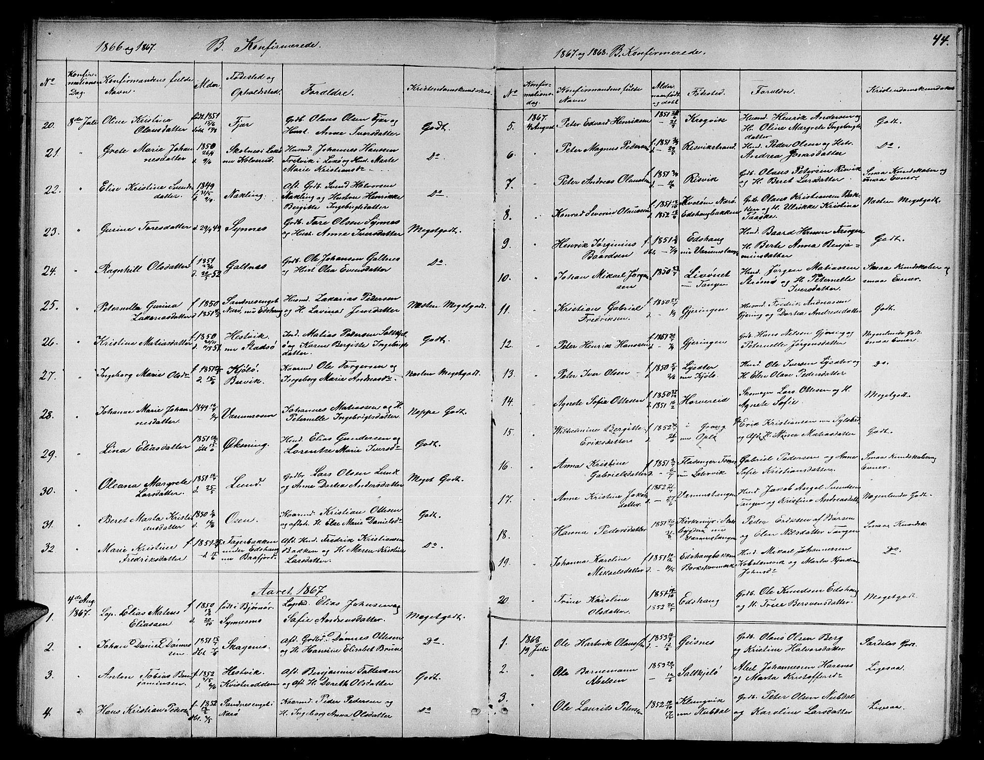 SAT, Ministerialprotokoller, klokkerbøker og fødselsregistre - Nord-Trøndelag, 780/L0650: Klokkerbok nr. 780C02, 1866-1884, s. 44