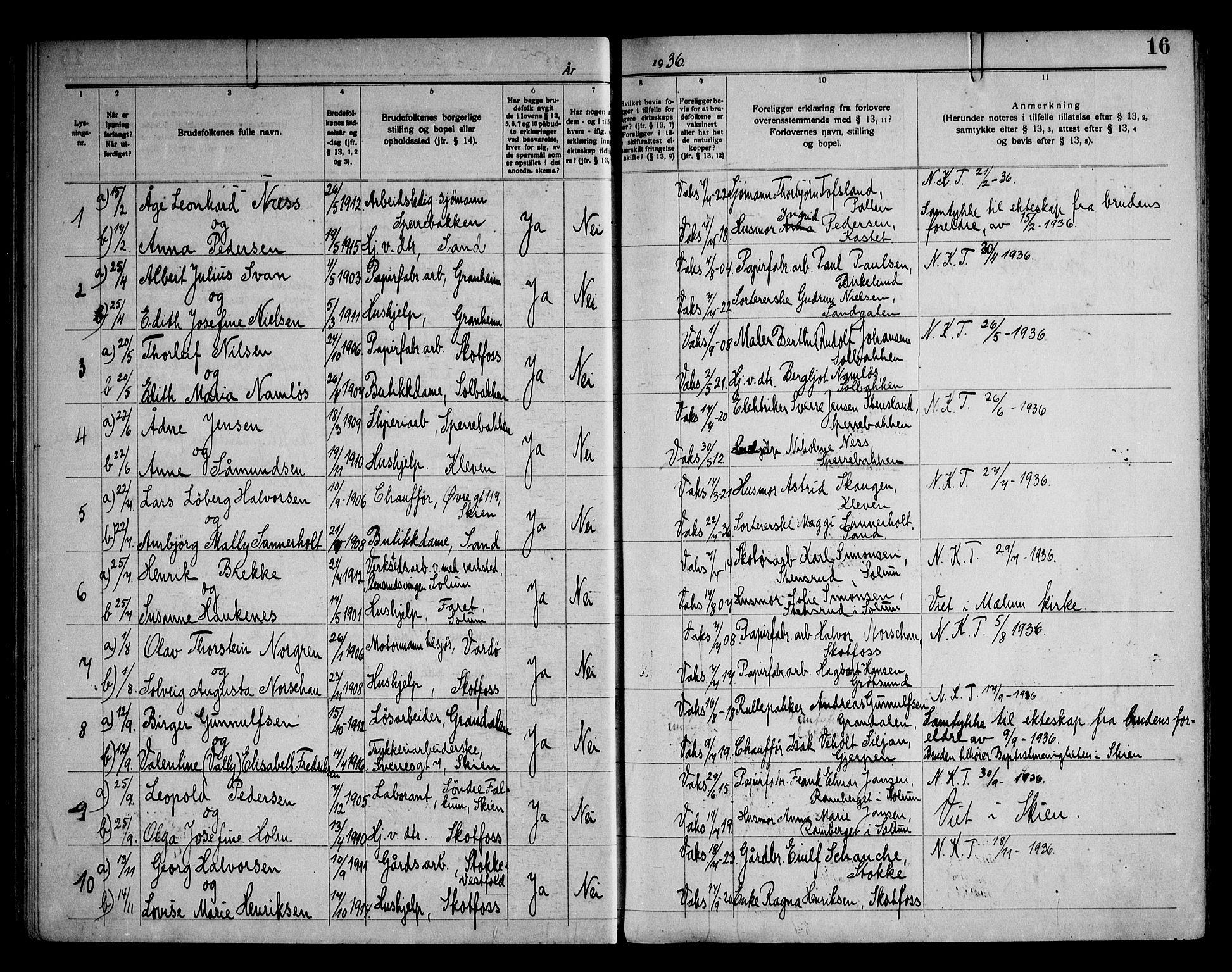SAKO, Solum kirkebøker, H/Hb/L0001: Lysningsprotokoll nr. II 1, 1929-1963, s. 16