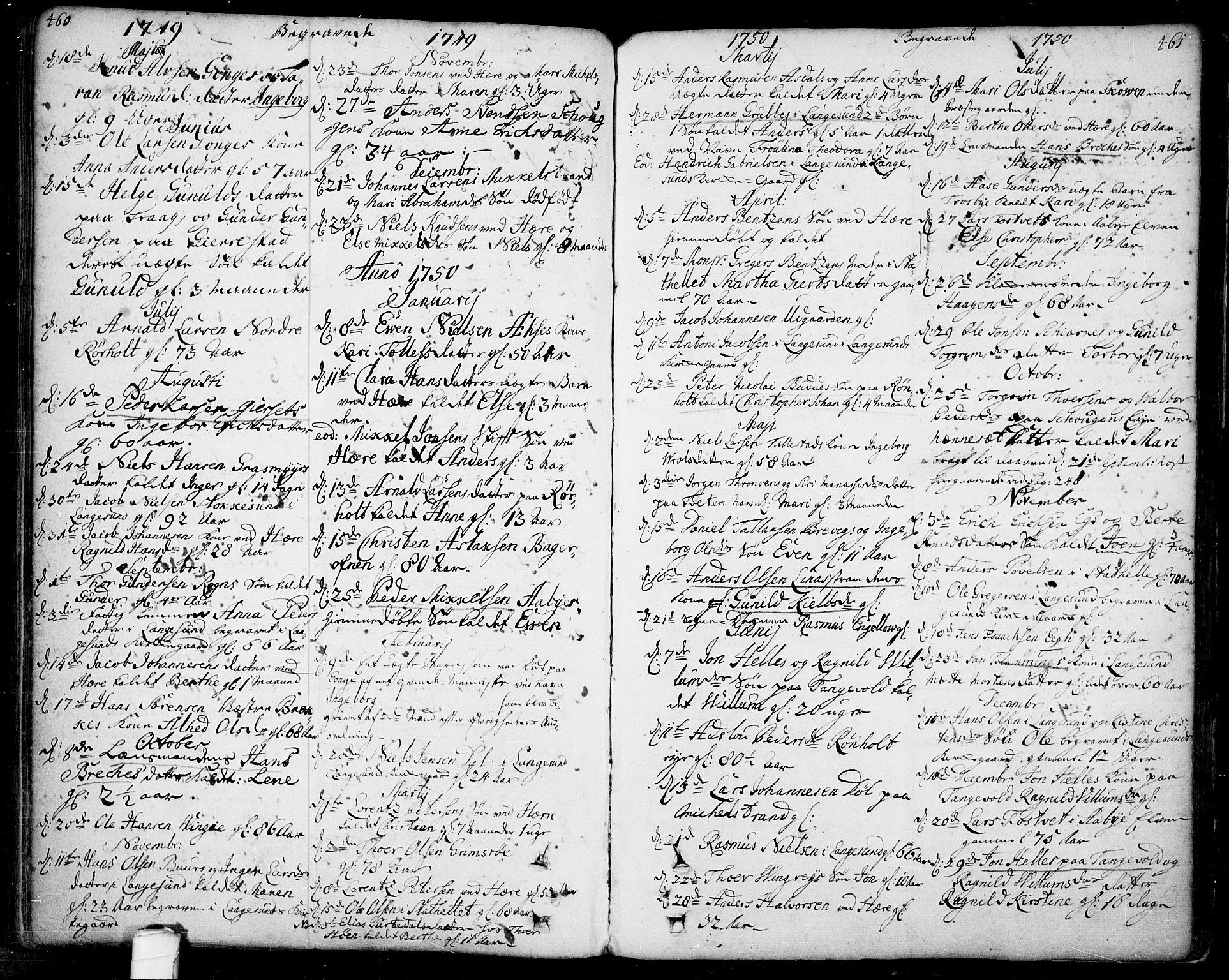 SAKO, Bamble kirkebøker, F/Fa/L0001: Ministerialbok nr. I 1, 1702-1774, s. 460-461