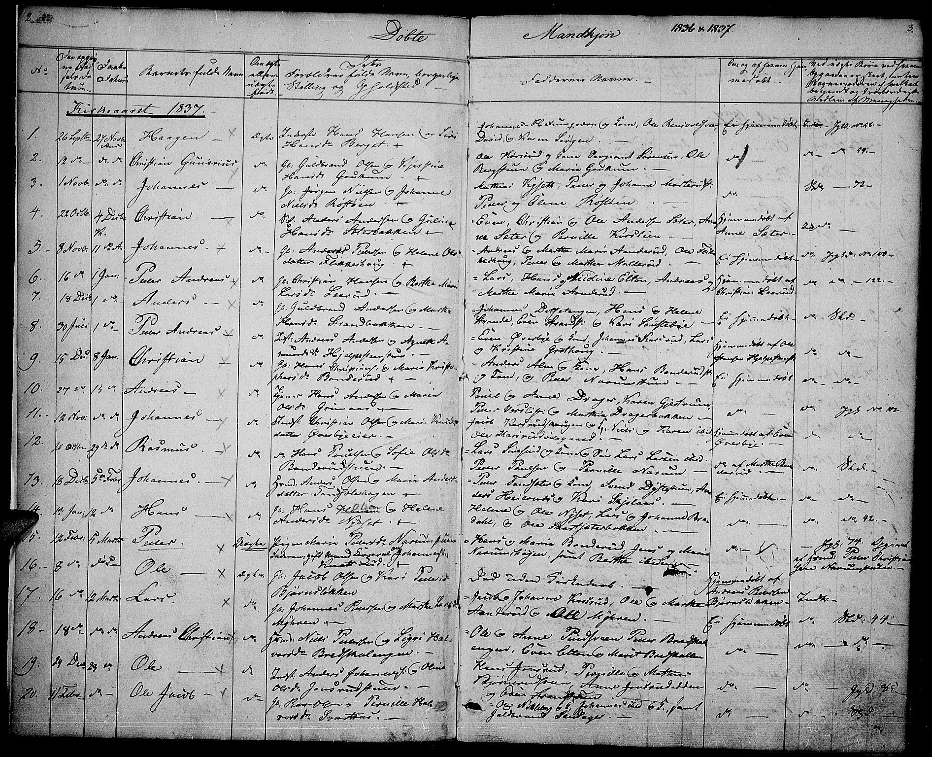 SAH, Vestre Toten prestekontor, Ministerialbok nr. 3, 1836-1843, s. 2-3