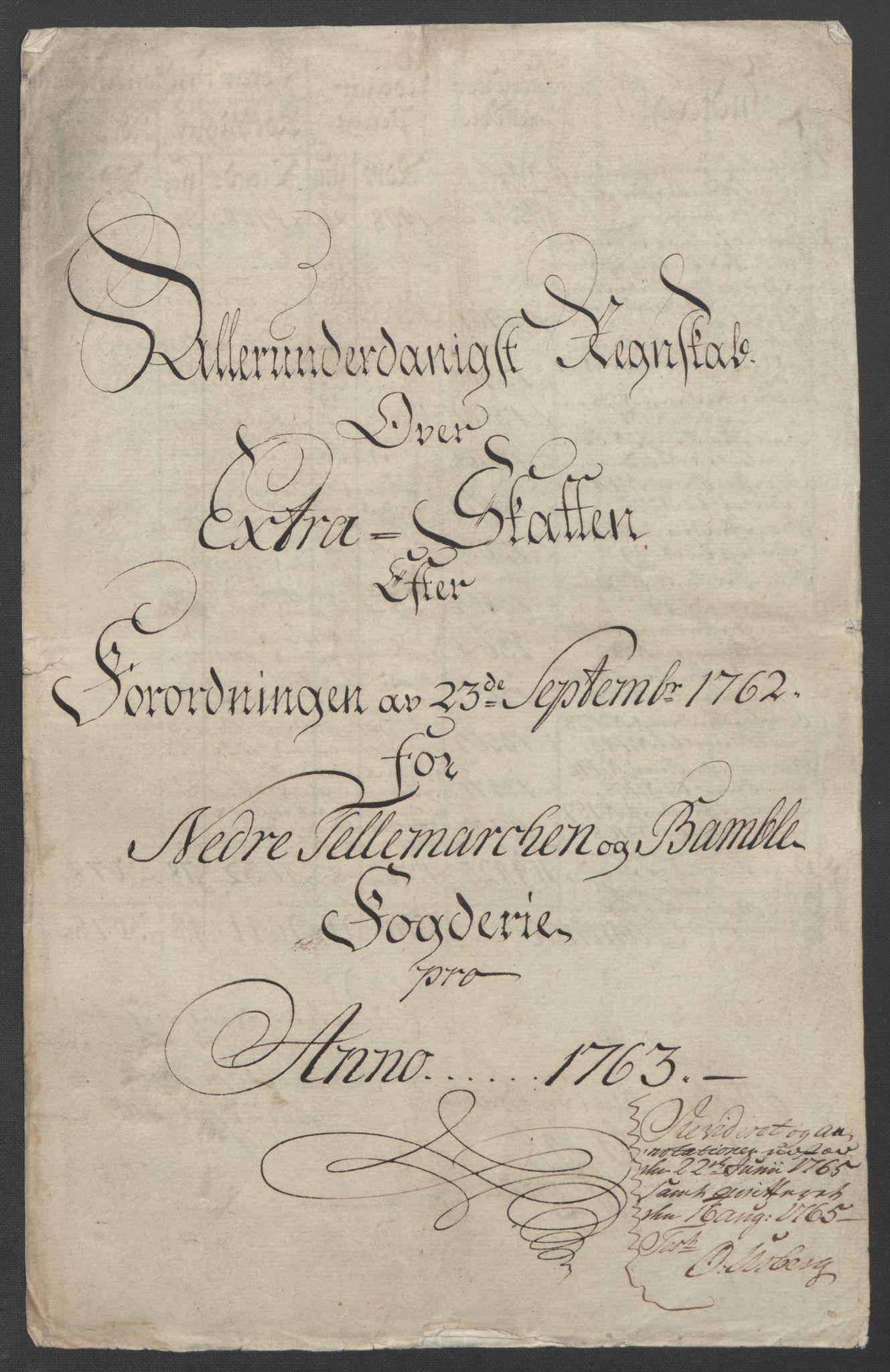 RA, Rentekammeret inntil 1814, Reviderte regnskaper, Fogderegnskap, R37/L2239: Ekstraskatten Nedre Telemark og Bamble, 1762-1763, s. 366