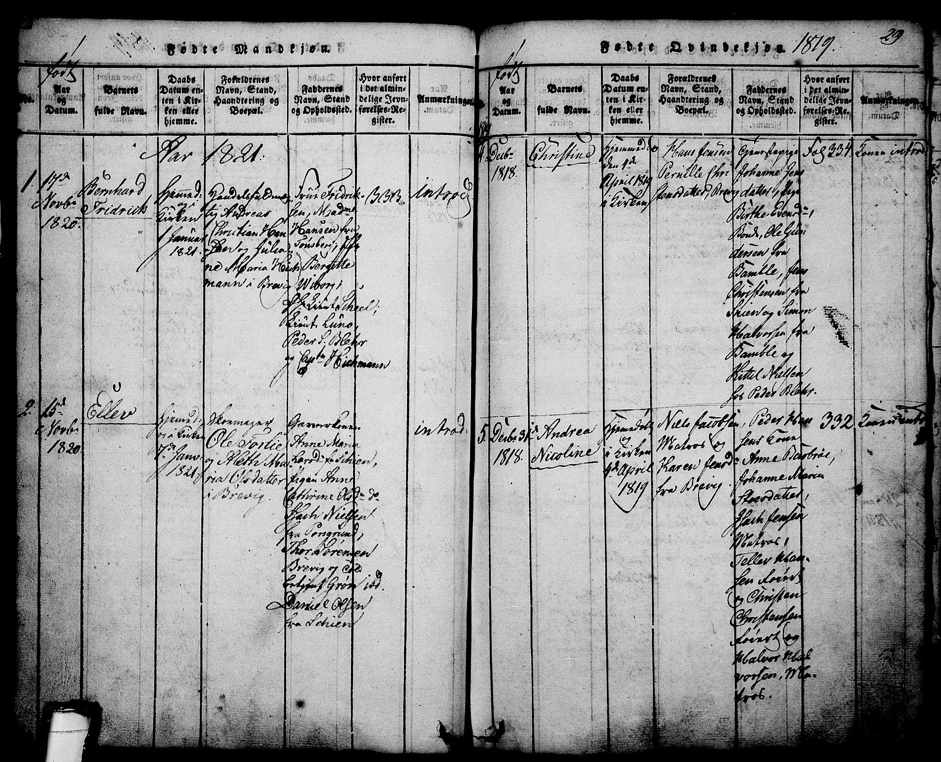 SAKO, Brevik kirkebøker, G/Ga/L0001: Klokkerbok nr. 1, 1814-1845, s. 29