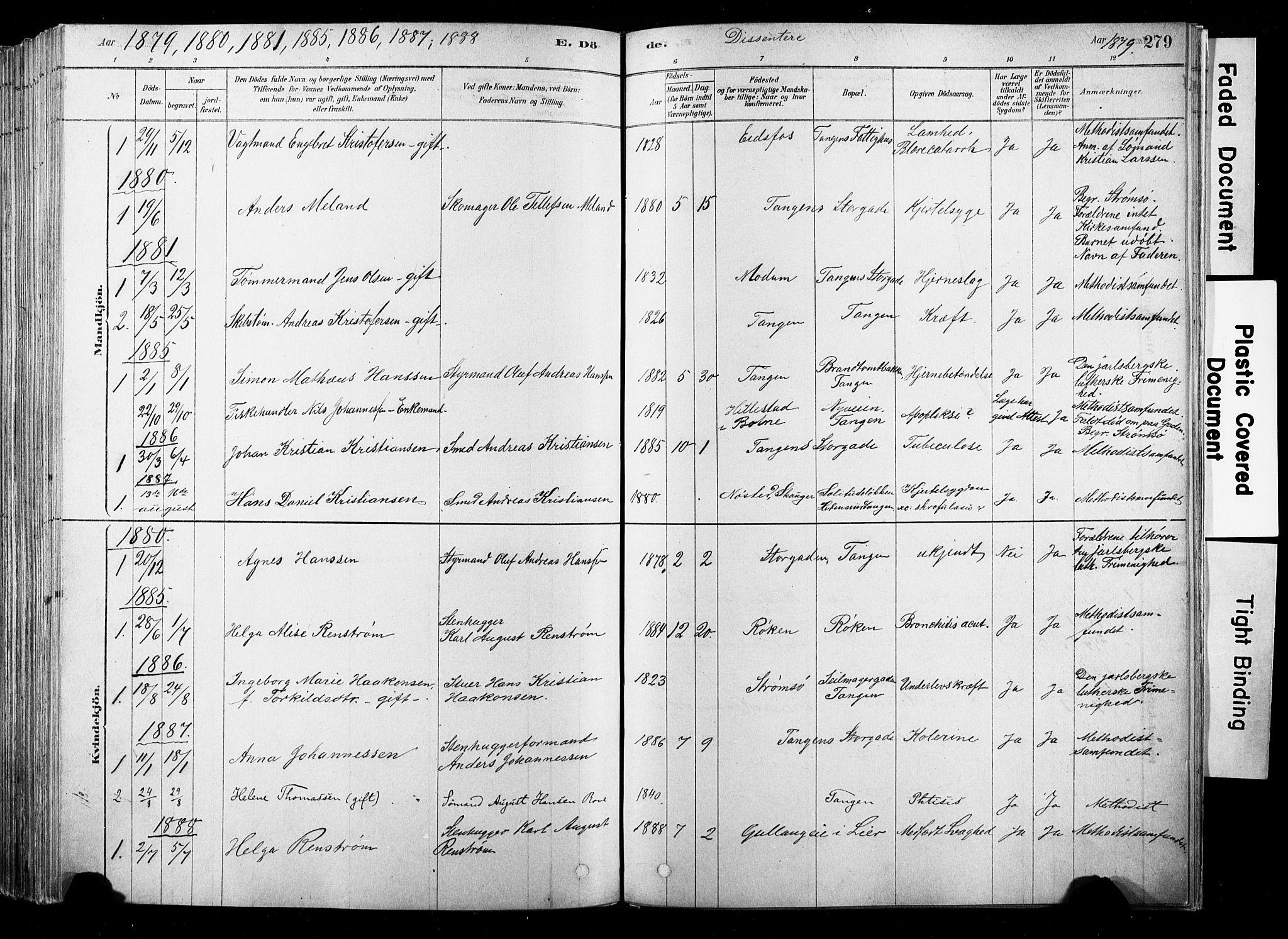 SAKO, Strømsø kirkebøker, F/Fb/L0006: Ministerialbok nr. II 6, 1879-1910, s. 279