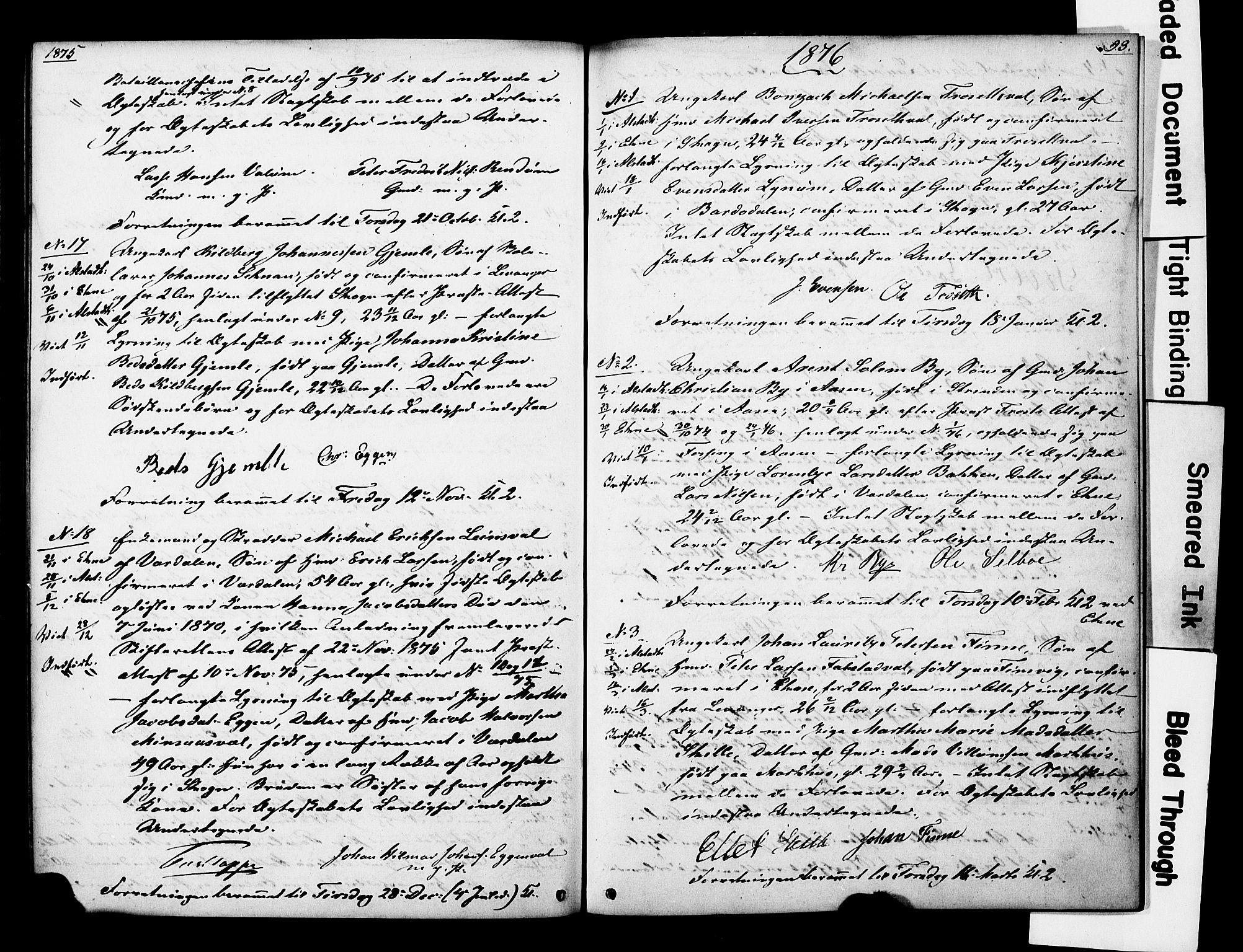 SAT, Ministerialprotokoller, klokkerbøker og fødselsregistre - Nord-Trøndelag, 717/L0161: Forlovererklæringer nr. 717A11, 1850-1895, s. 93